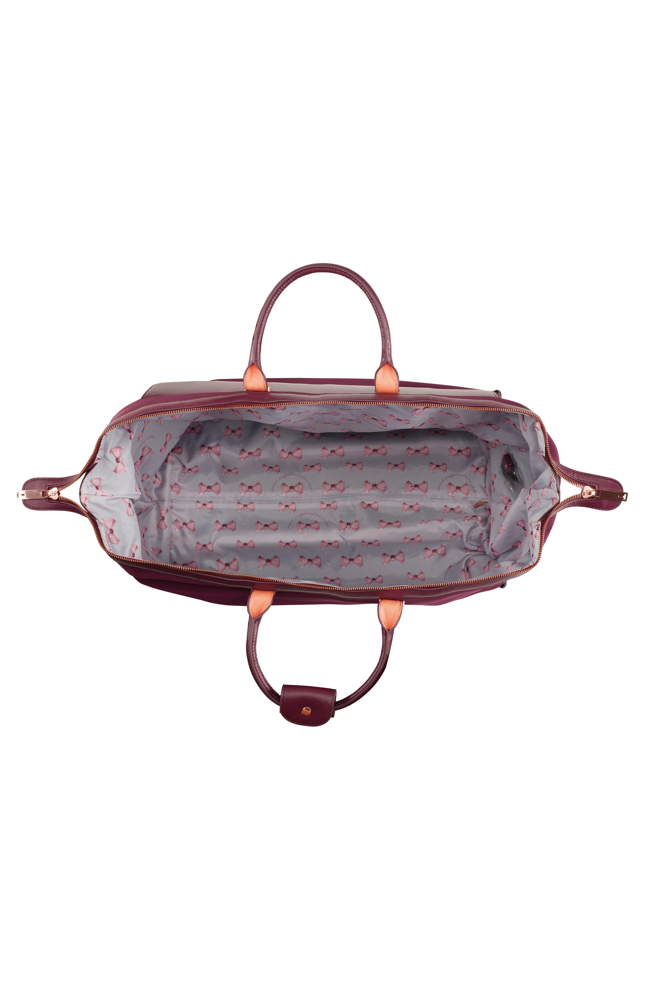 Large Front Pocket Rolling Duffel Bag,                             Alternate thumbnail 3, color,                             Burgundy