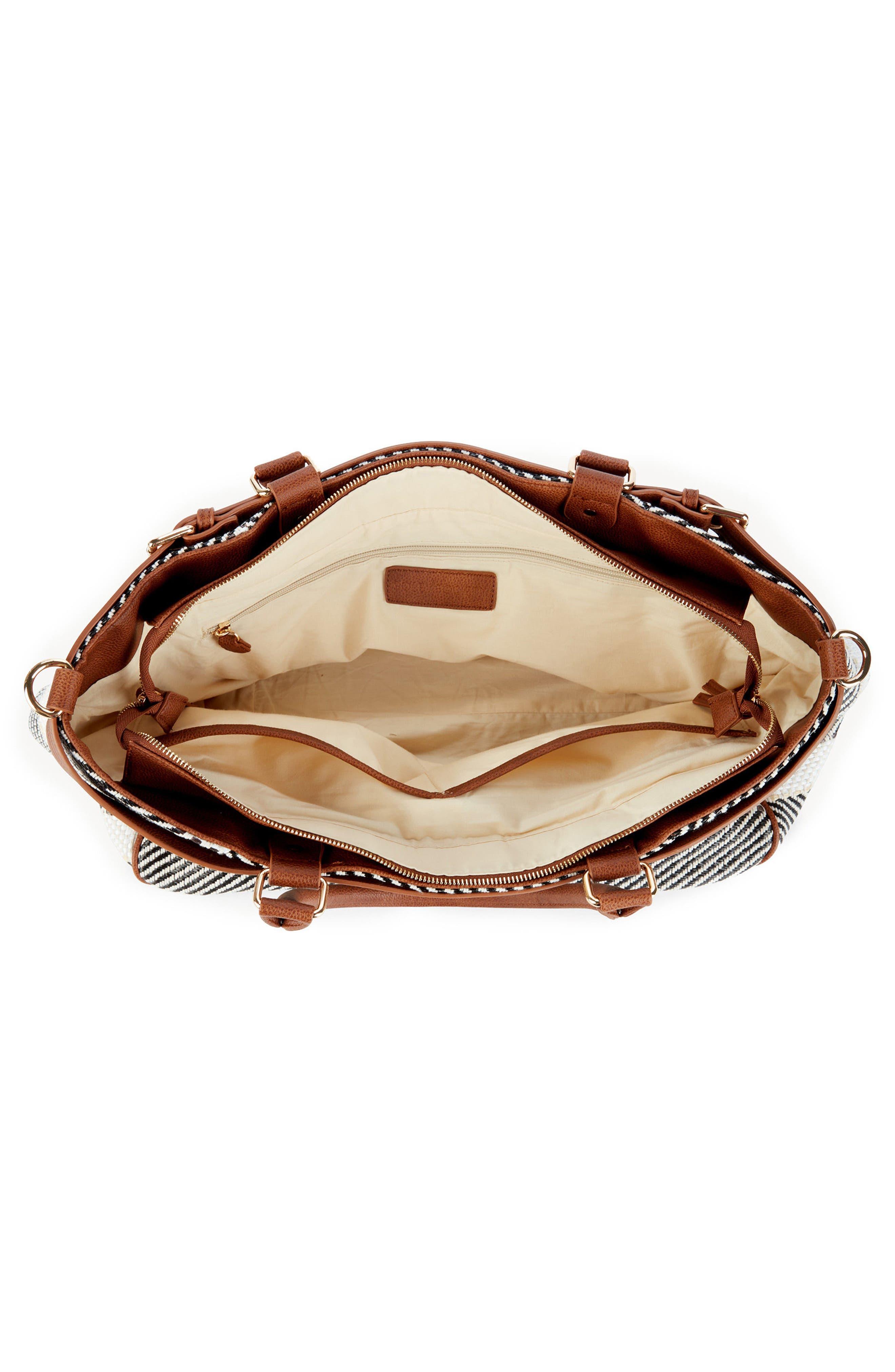 Stripe Woven Weekend Bag,                             Alternate thumbnail 4, color,                             Black/ Cream Combo