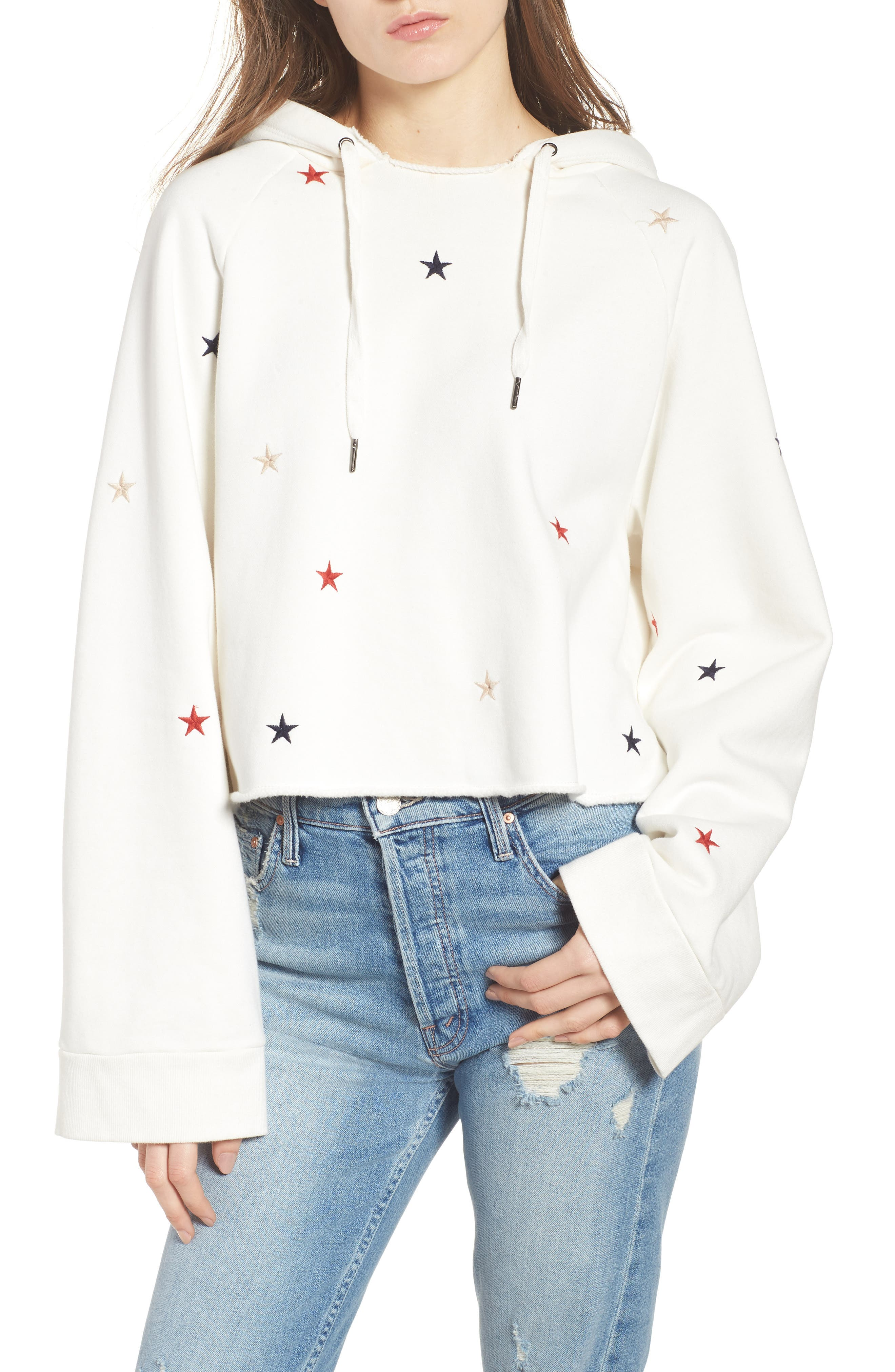 Crop Hooded Sweatshirt,                         Main,                         color, Off White