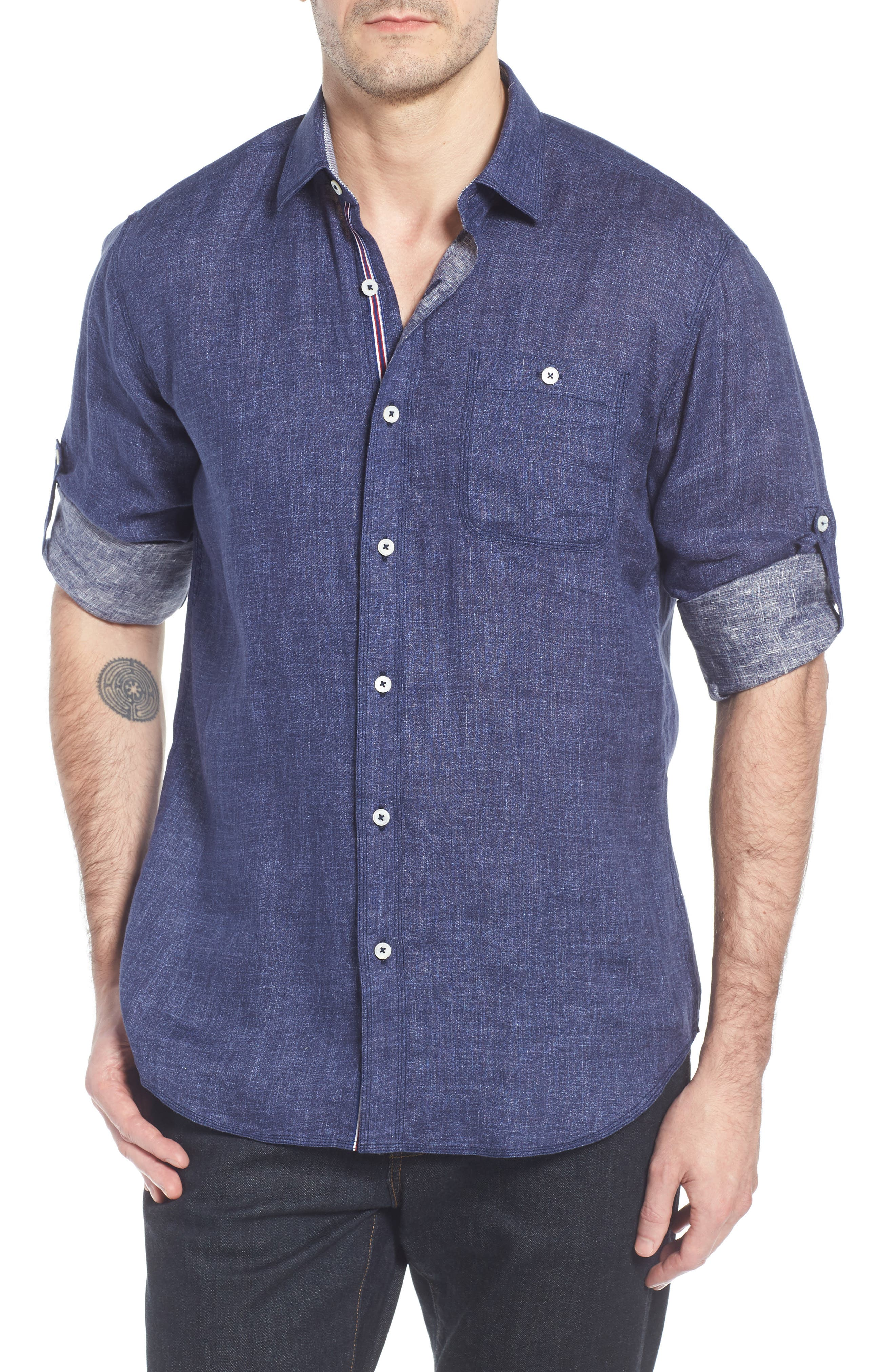 Shaped Fit Linen Sport Shirt,                             Main thumbnail 1, color,                             Navy