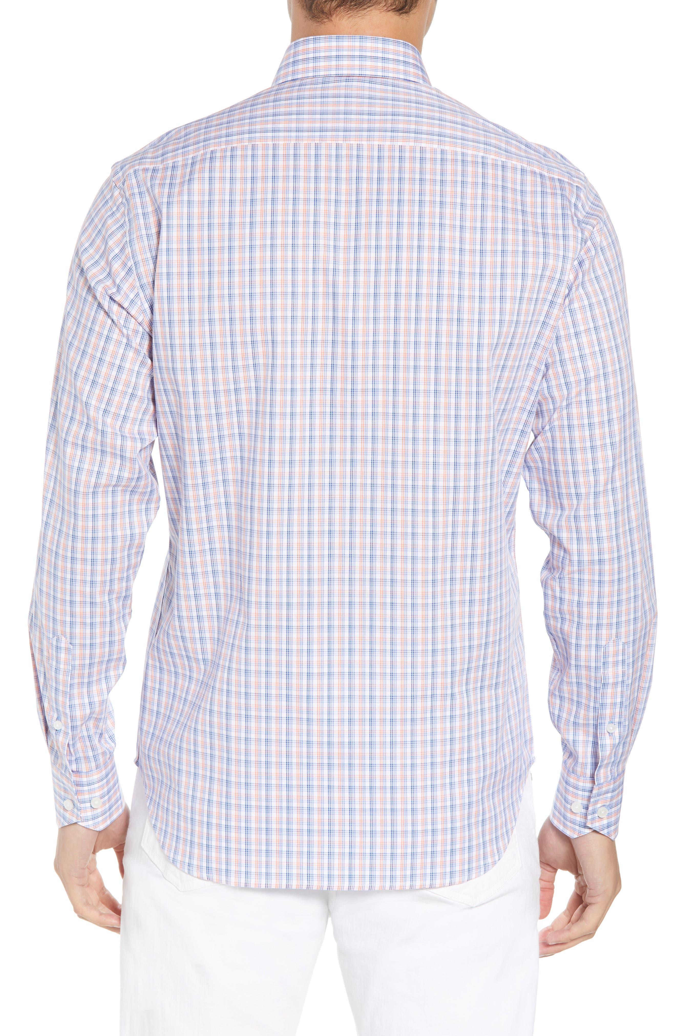 Adon Regular Fit Plaid Sport Shirt,                             Alternate thumbnail 3, color,                             Orange