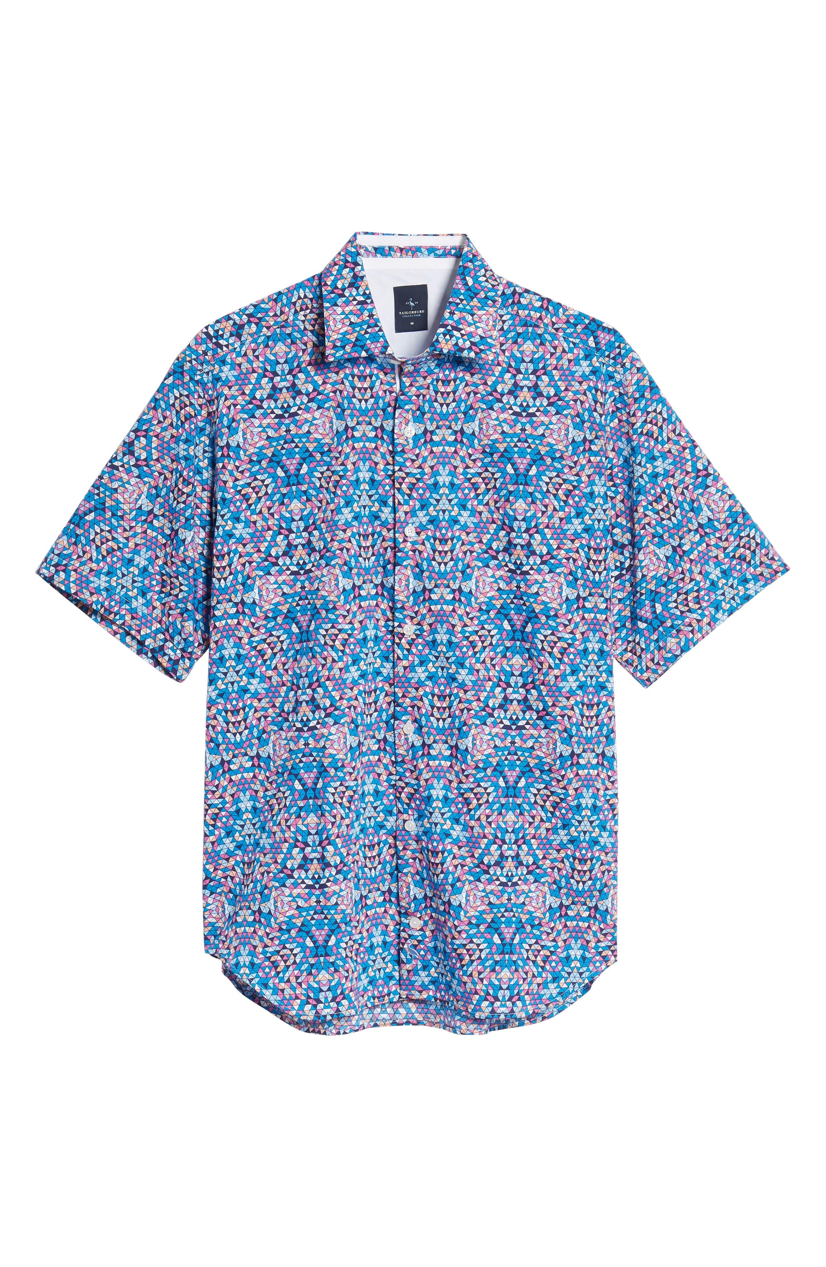 Alvin Regular Fit Print Sport Shirt,                             Alternate thumbnail 6, color,                             Teal