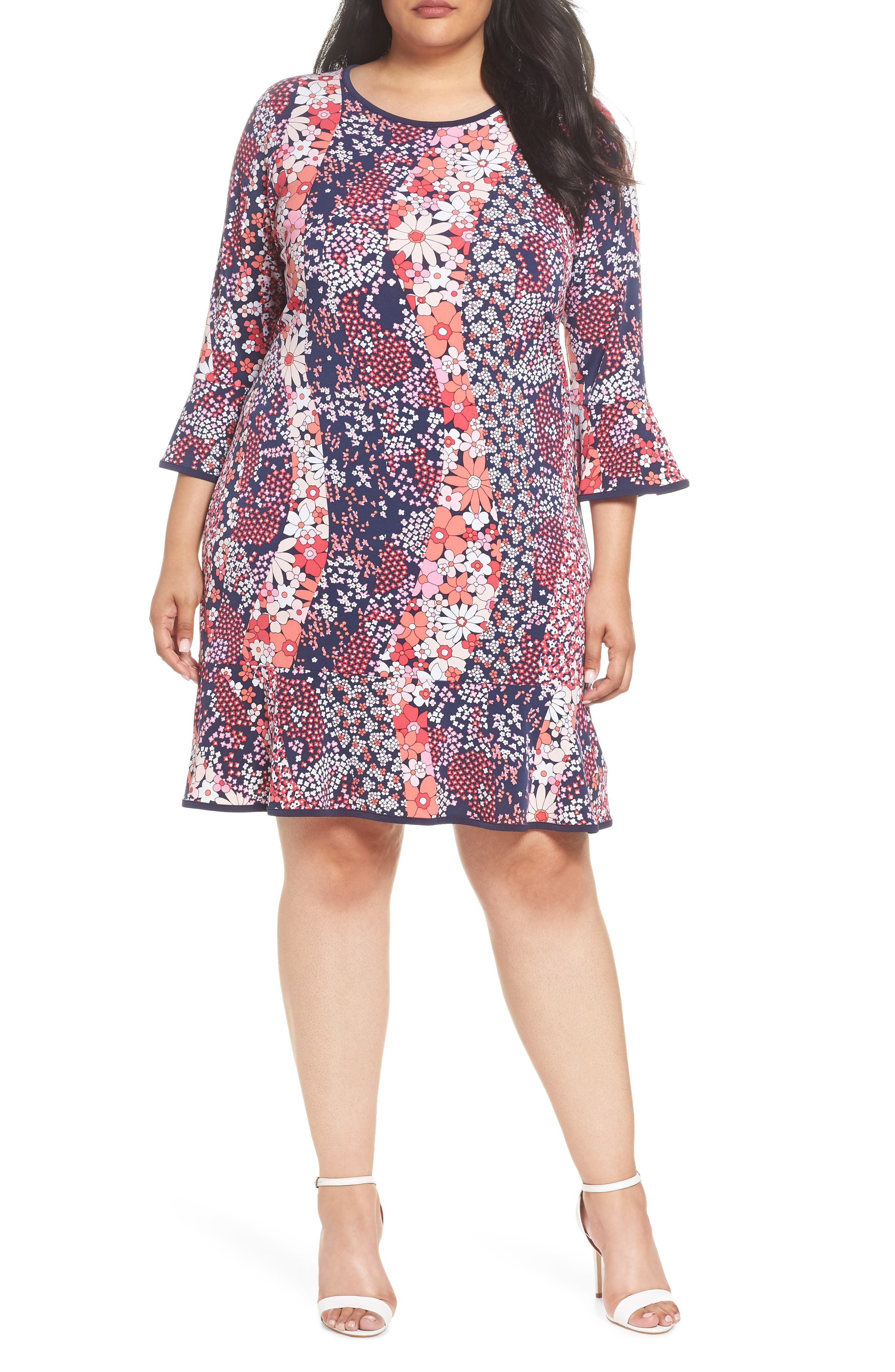 Patchwork Floral Bell Sleeve Shift Dress,                         Main,                         color, True Navy/ Bright Blush