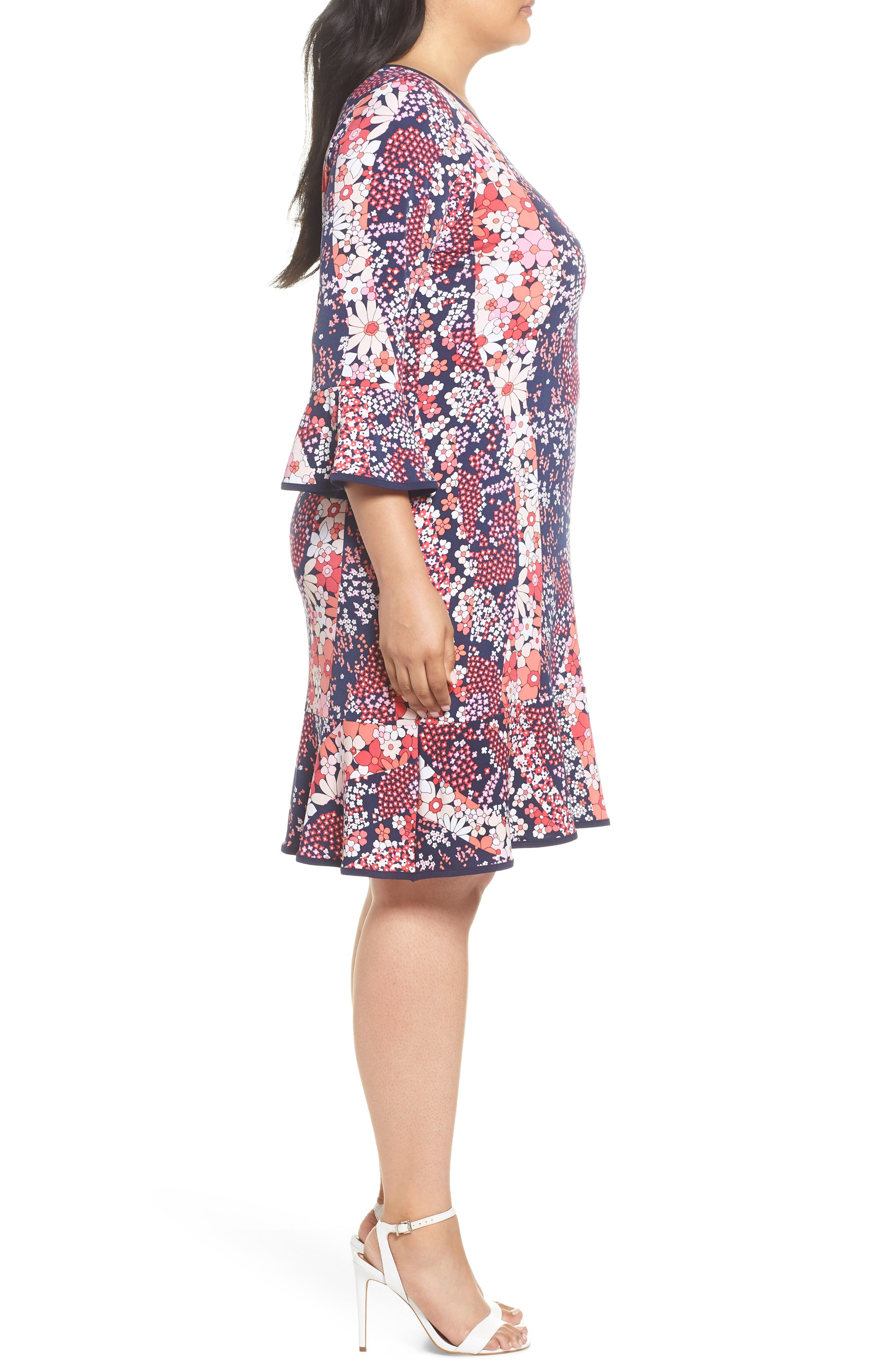 Patchwork Floral Bell Sleeve Shift Dress,                             Alternate thumbnail 3, color,                             True Navy/ Bright Blush