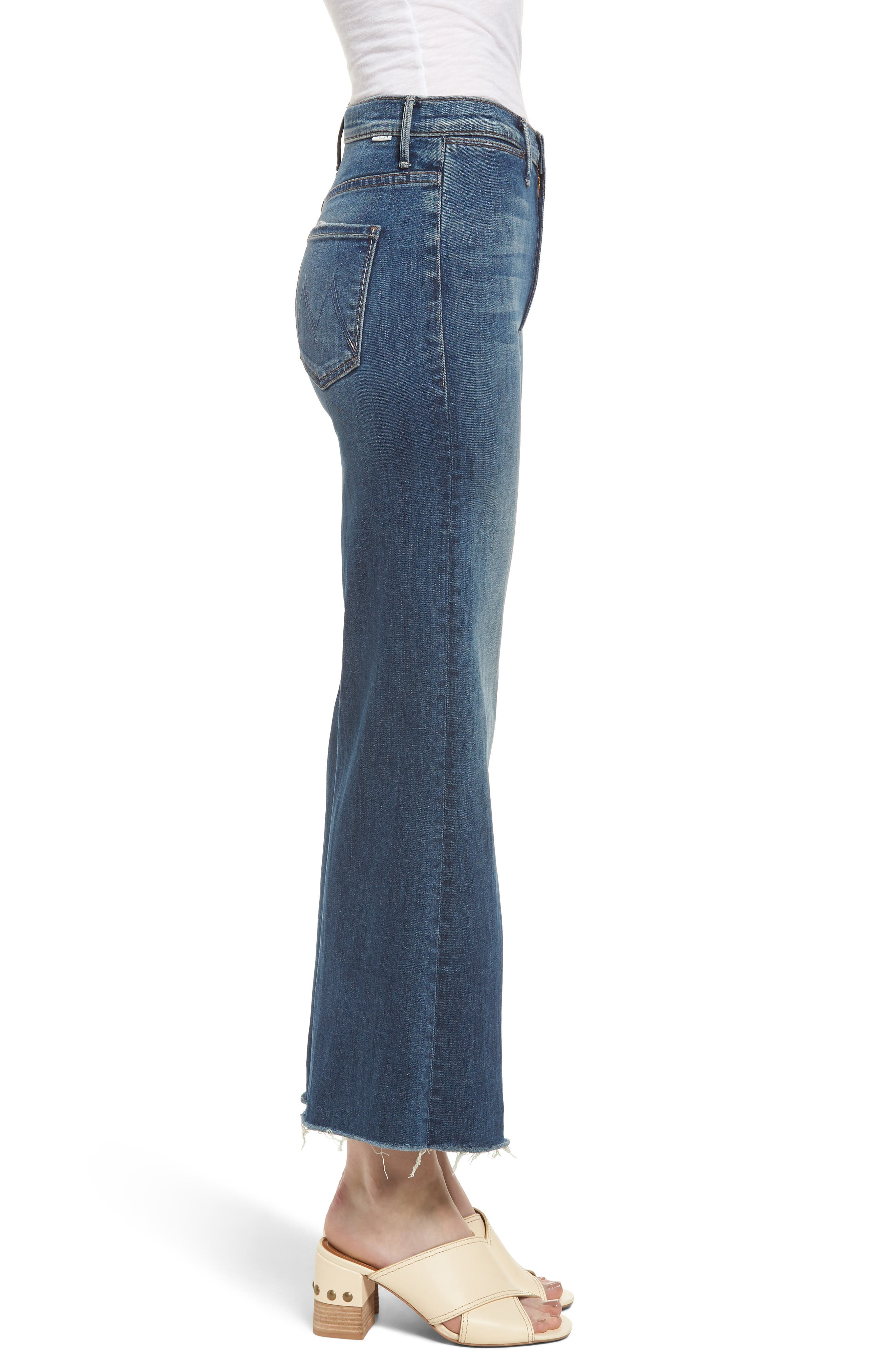 The Swooner High Waist Crop Wide Leg Jeans,                             Alternate thumbnail 3, color,                             Come Sundown