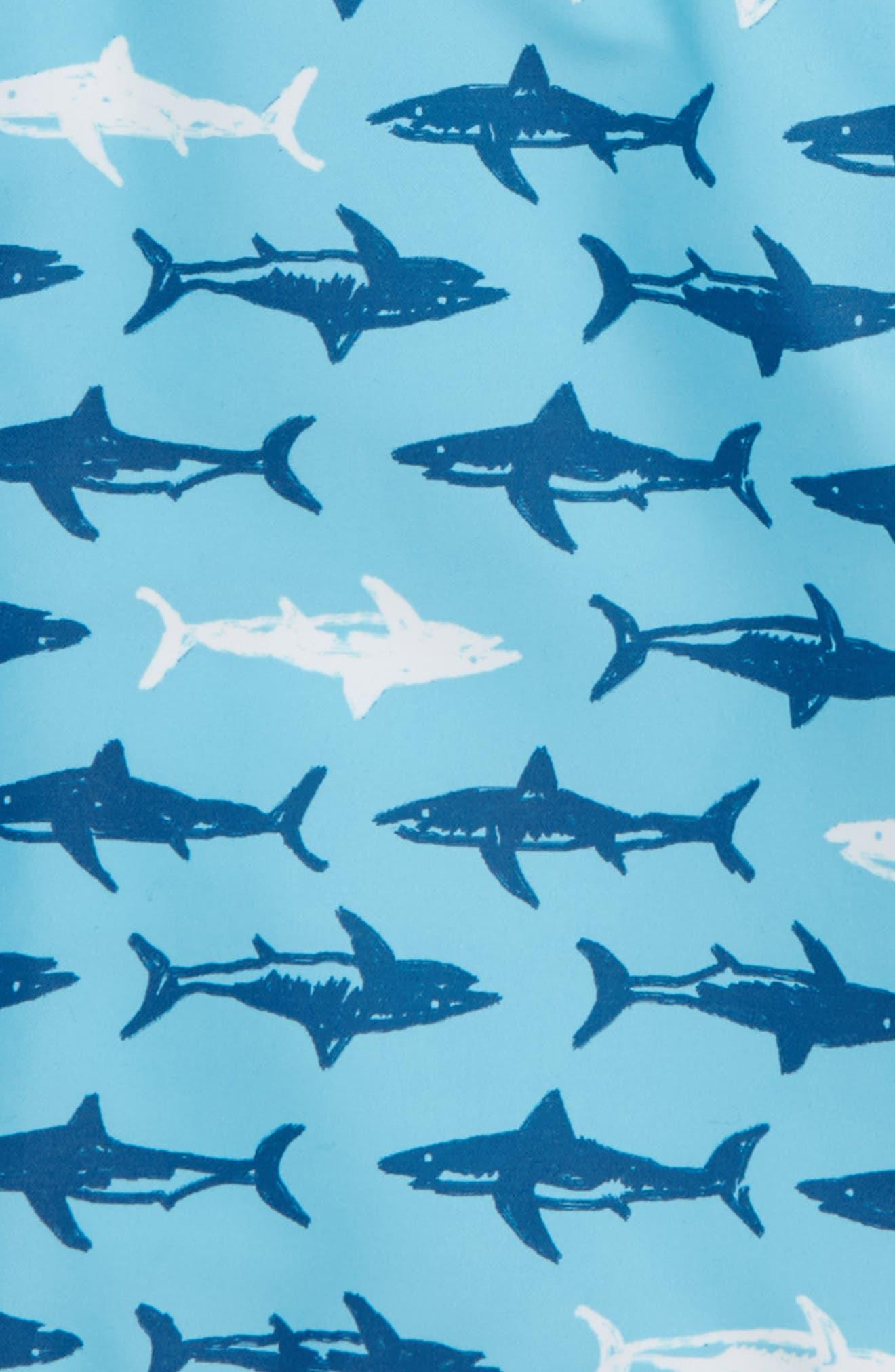 'Sand 'N My Trunks' Swim Trunks,                             Alternate thumbnail 2, color,                             Blue River Multi Sharks