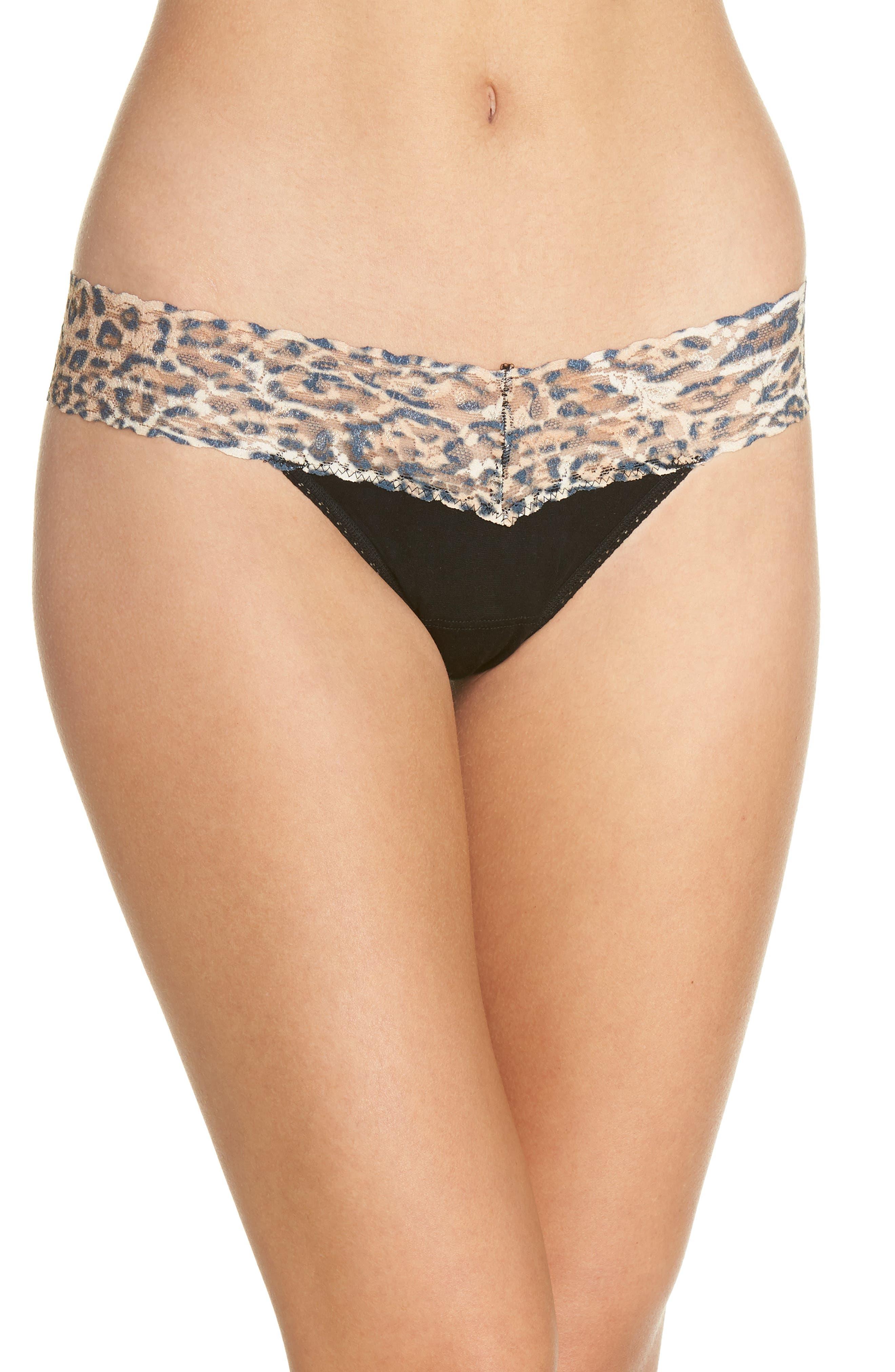 Mid Rise Modal Thong with Lace Trim,                         Main,                         color, Black/ Leopard Nouveau