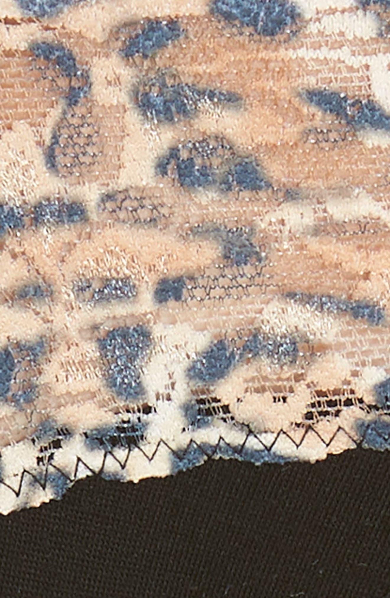 Mid Rise Modal Thong with Lace Trim,                             Alternate thumbnail 5, color,                             Black/ Leopard Nouveau