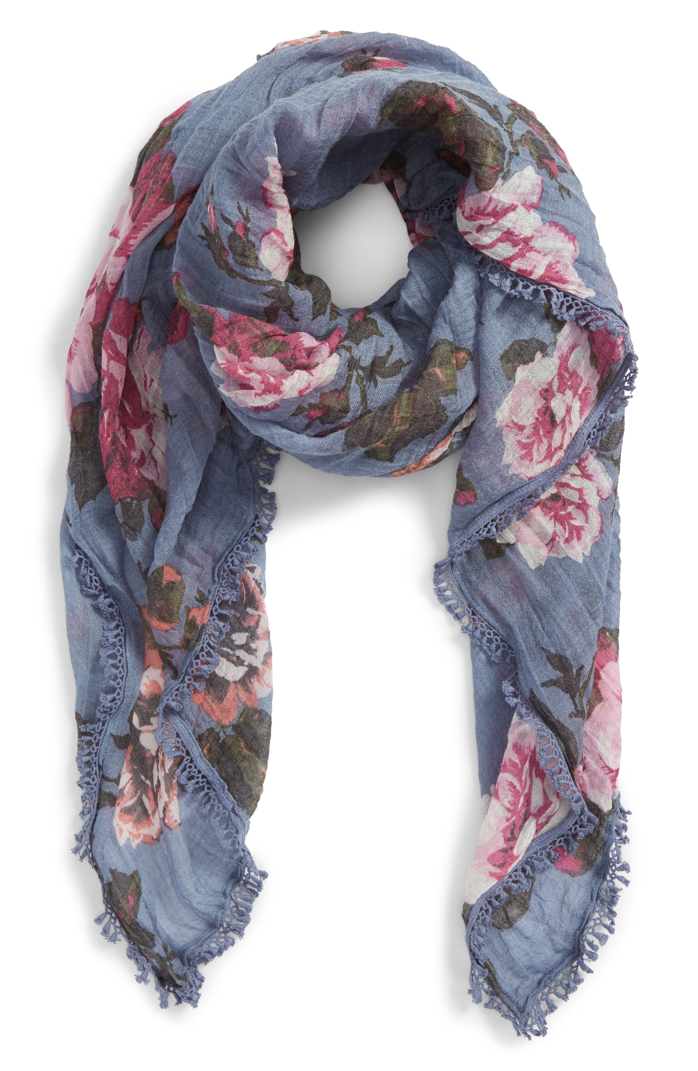 Floral Fringe Scarf,                             Main thumbnail 1, color,                             Blue Moody Rose