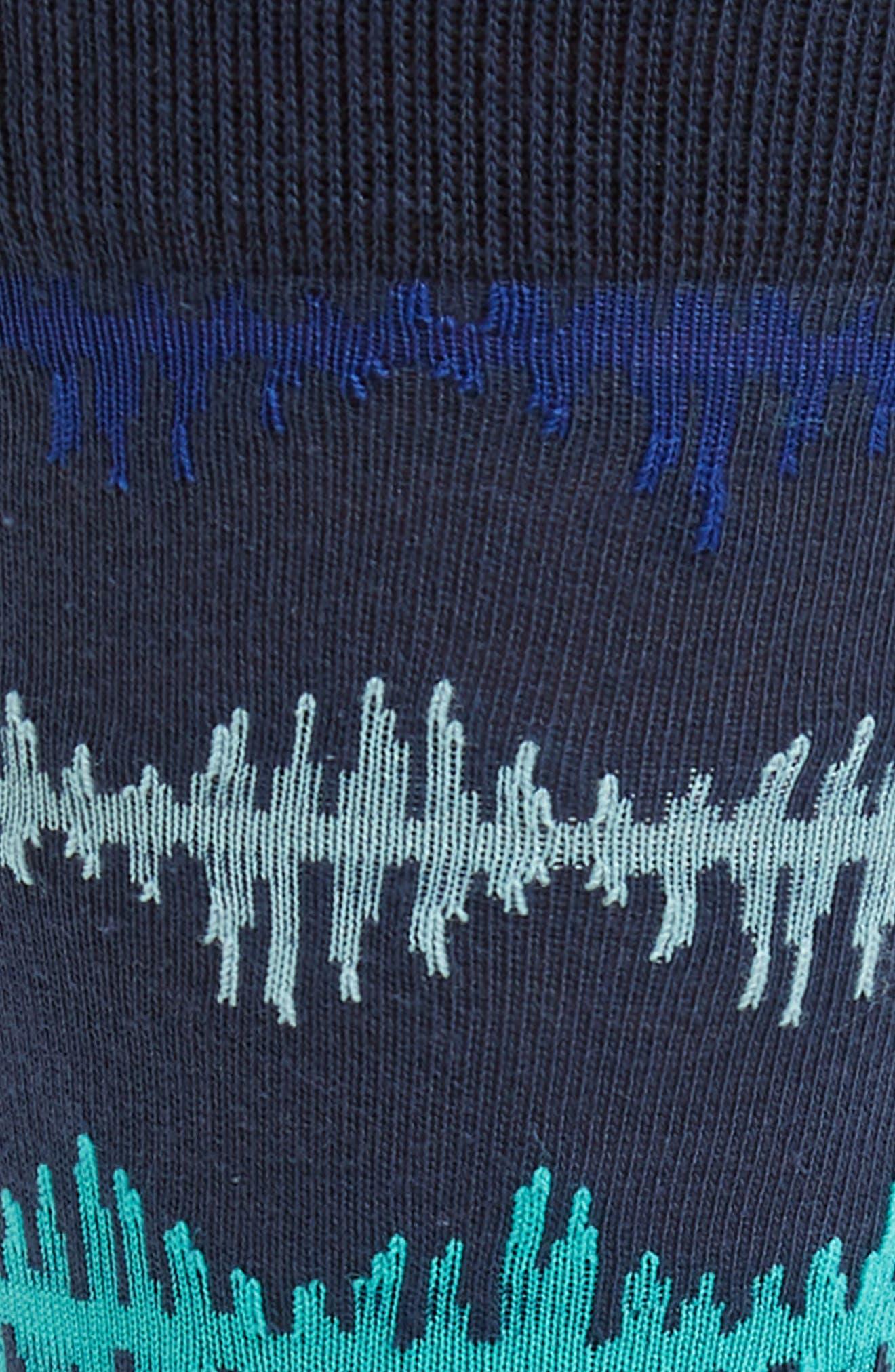 Pulse Wave Socks,                             Alternate thumbnail 2, color,                             Navy/ Orange