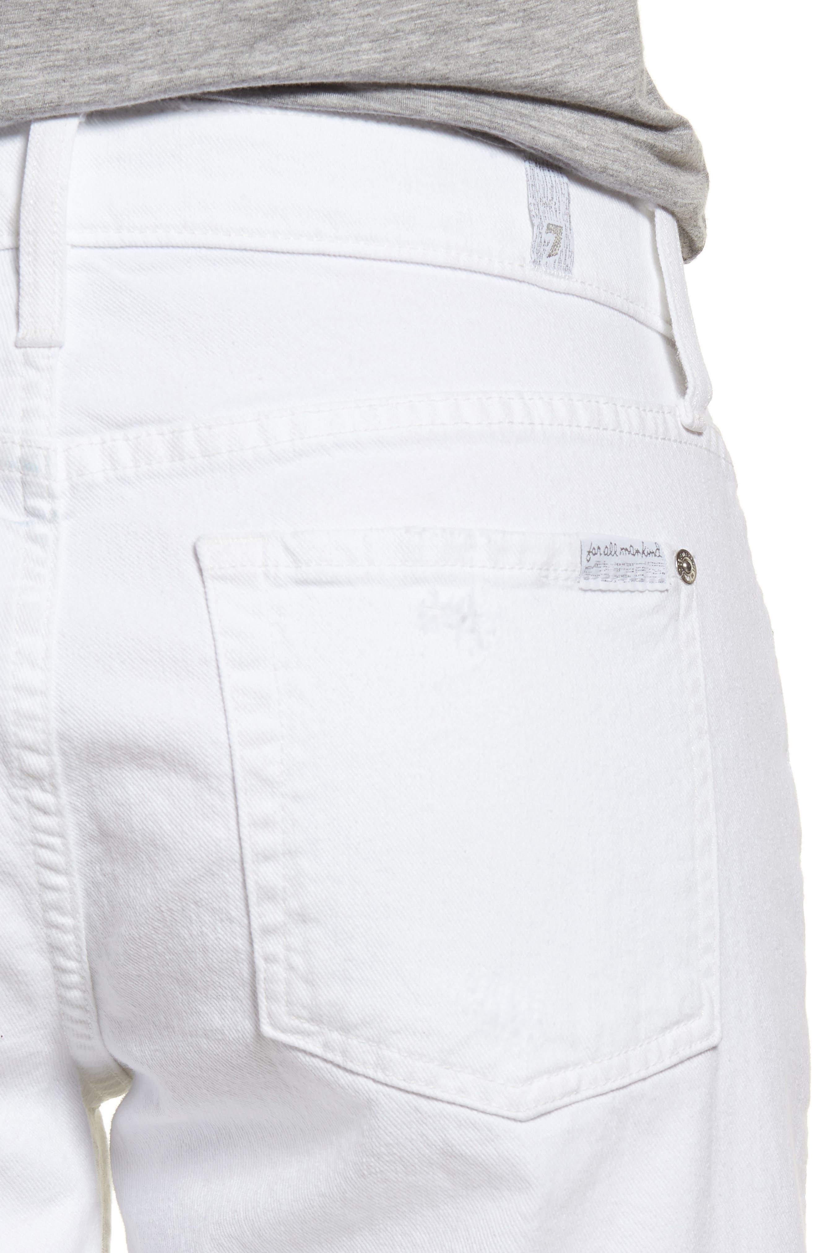 Alternate Image 4  - 7 For All Mankind® Distressed High Waist Straight Leg Bermuda Shorts (White Fashion 4)