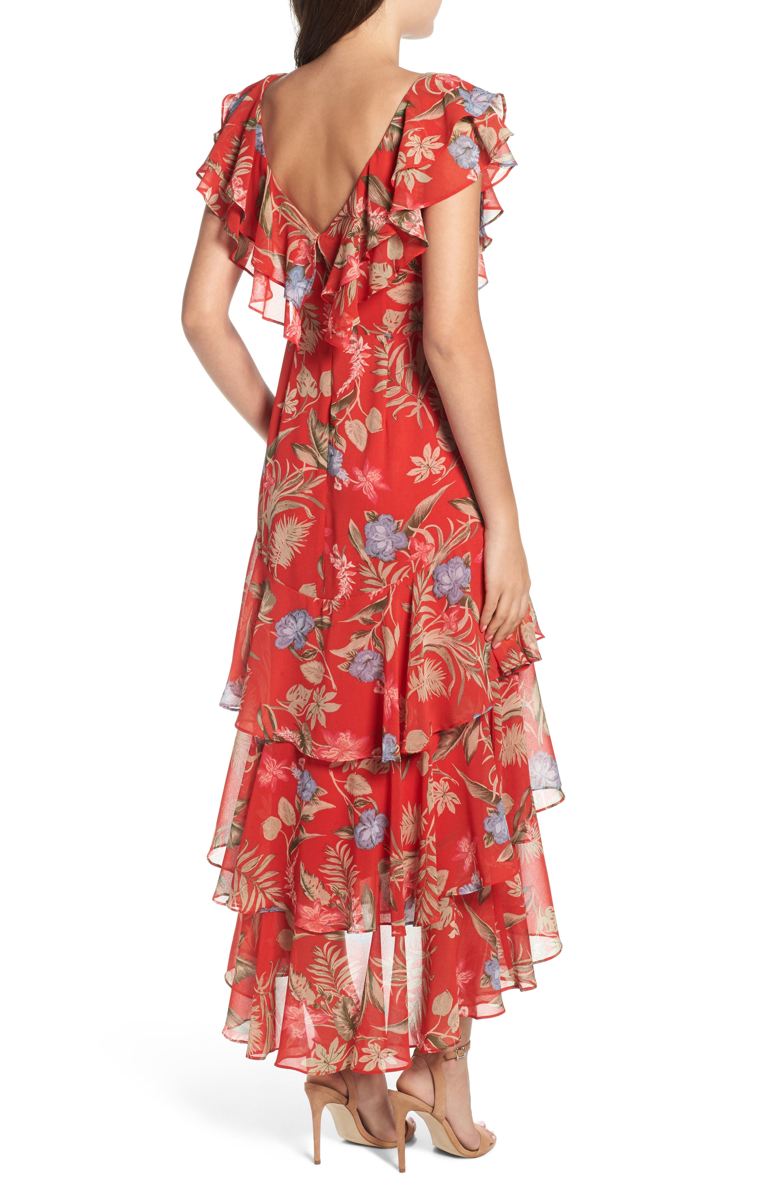 Chelsea Tiered Ruffle Maxi Dress,                             Alternate thumbnail 2, color,                             Red Tropical