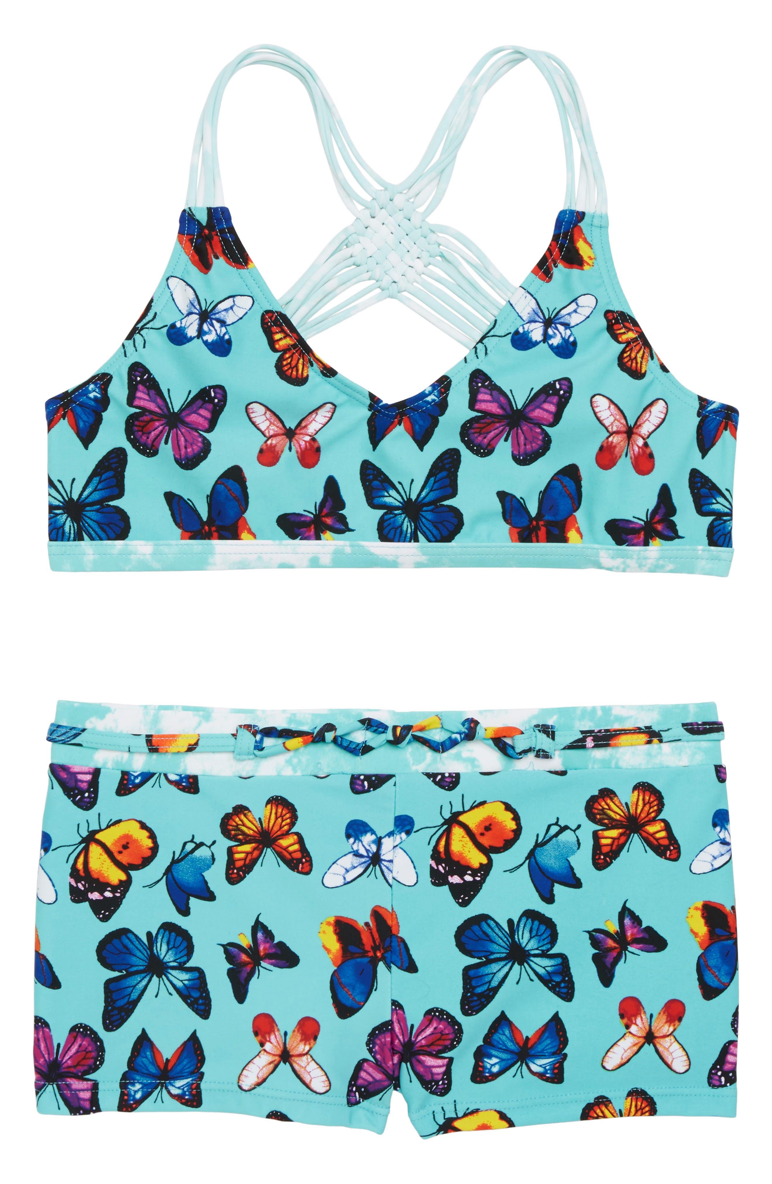 Print Macramé Two-Piece Swimsuit,                         Main,                         color, Turquoise