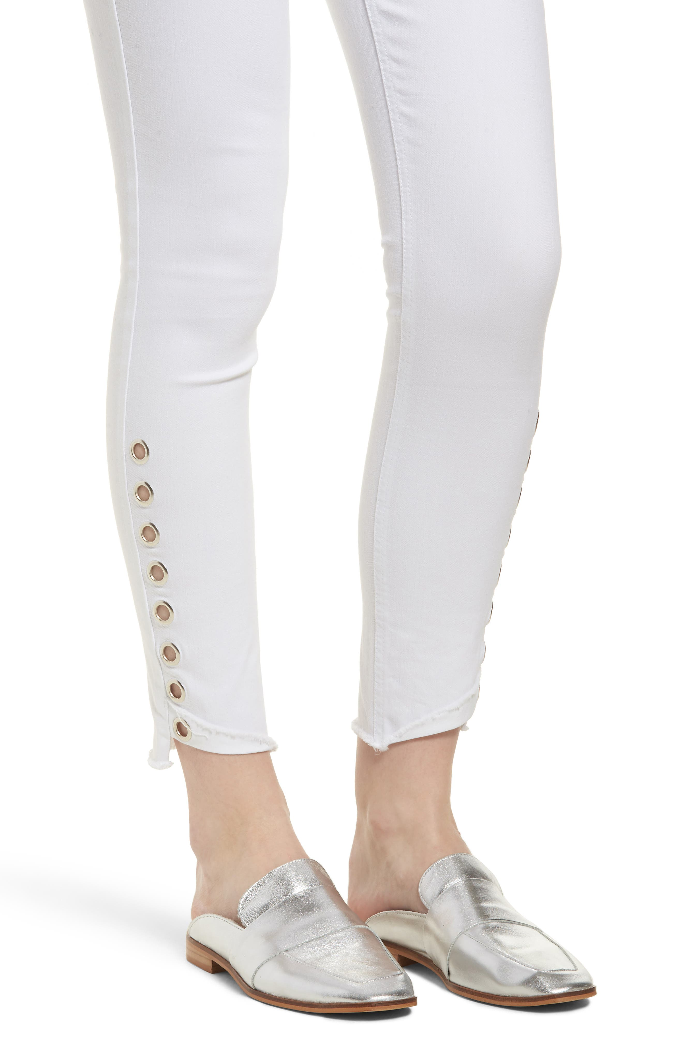 Grommet Detail Ankle Skinny Jeans,                             Alternate thumbnail 4, color,                             Optic White