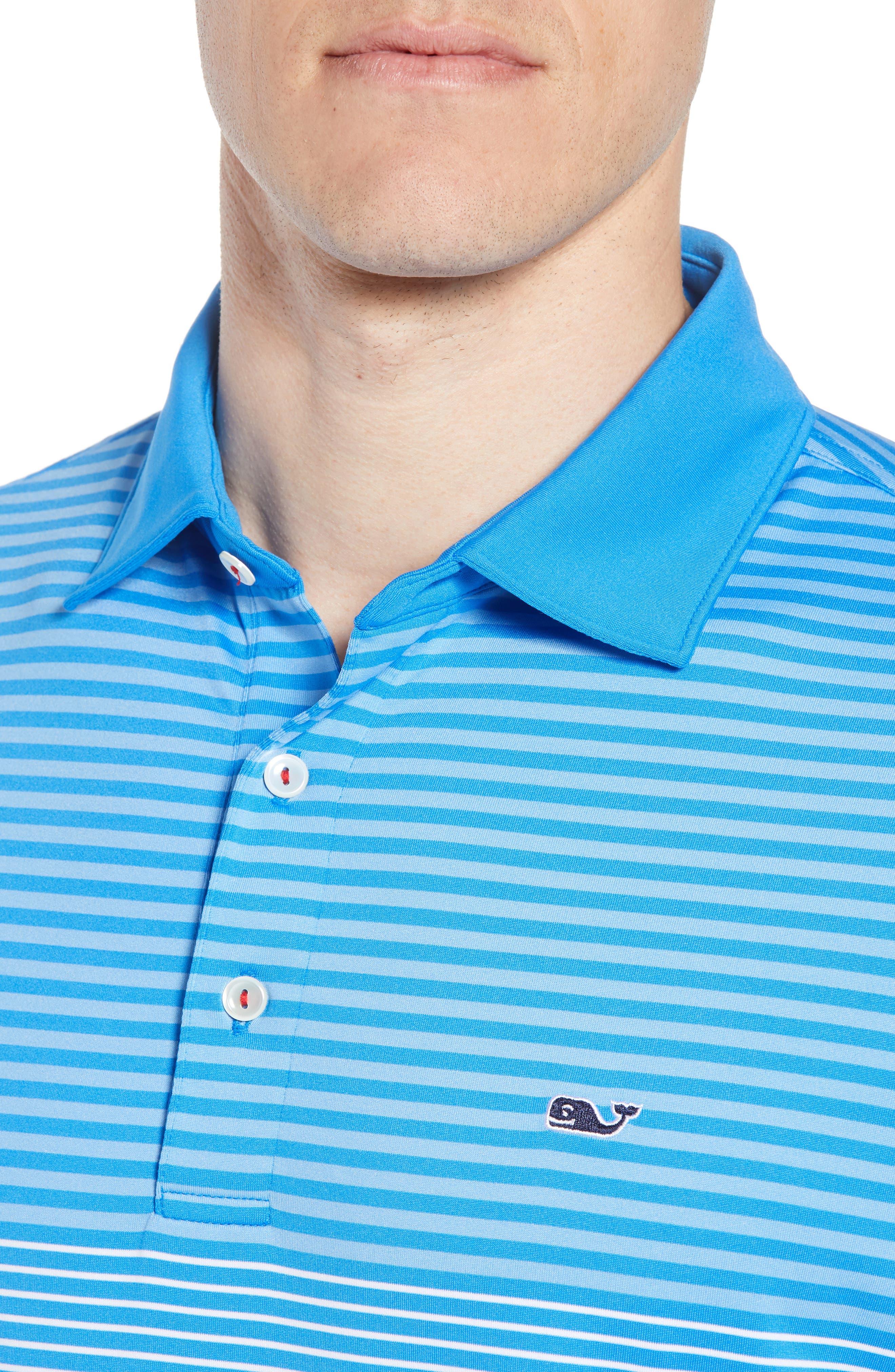 Regular Fit Engineer Stripe Sankaty Performance Polo,                             Alternate thumbnail 4, color,                             Azure Blue