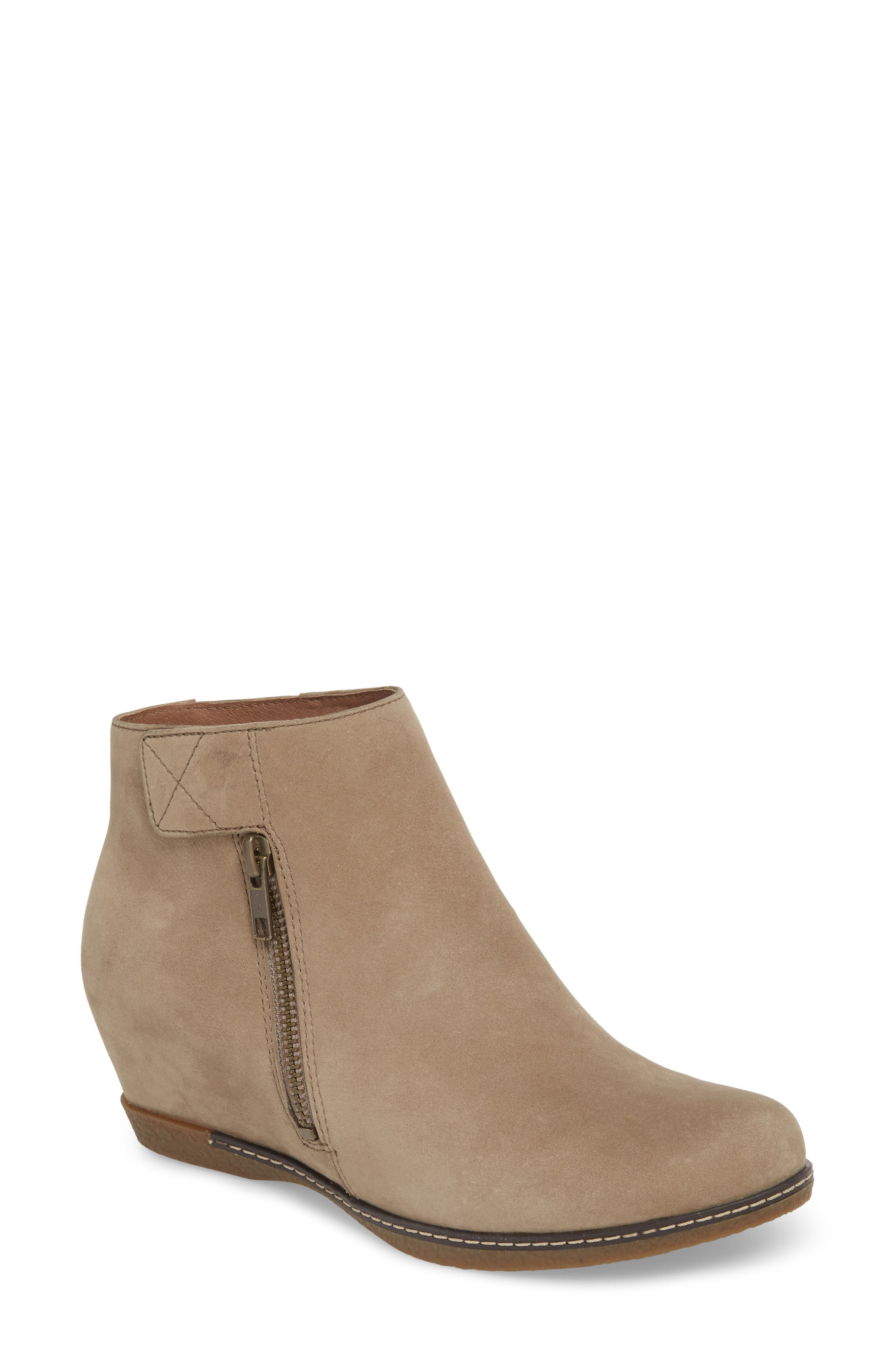 Leanna Bootie,                             Main thumbnail 1, color,                             Taupe Burnished Nubuck