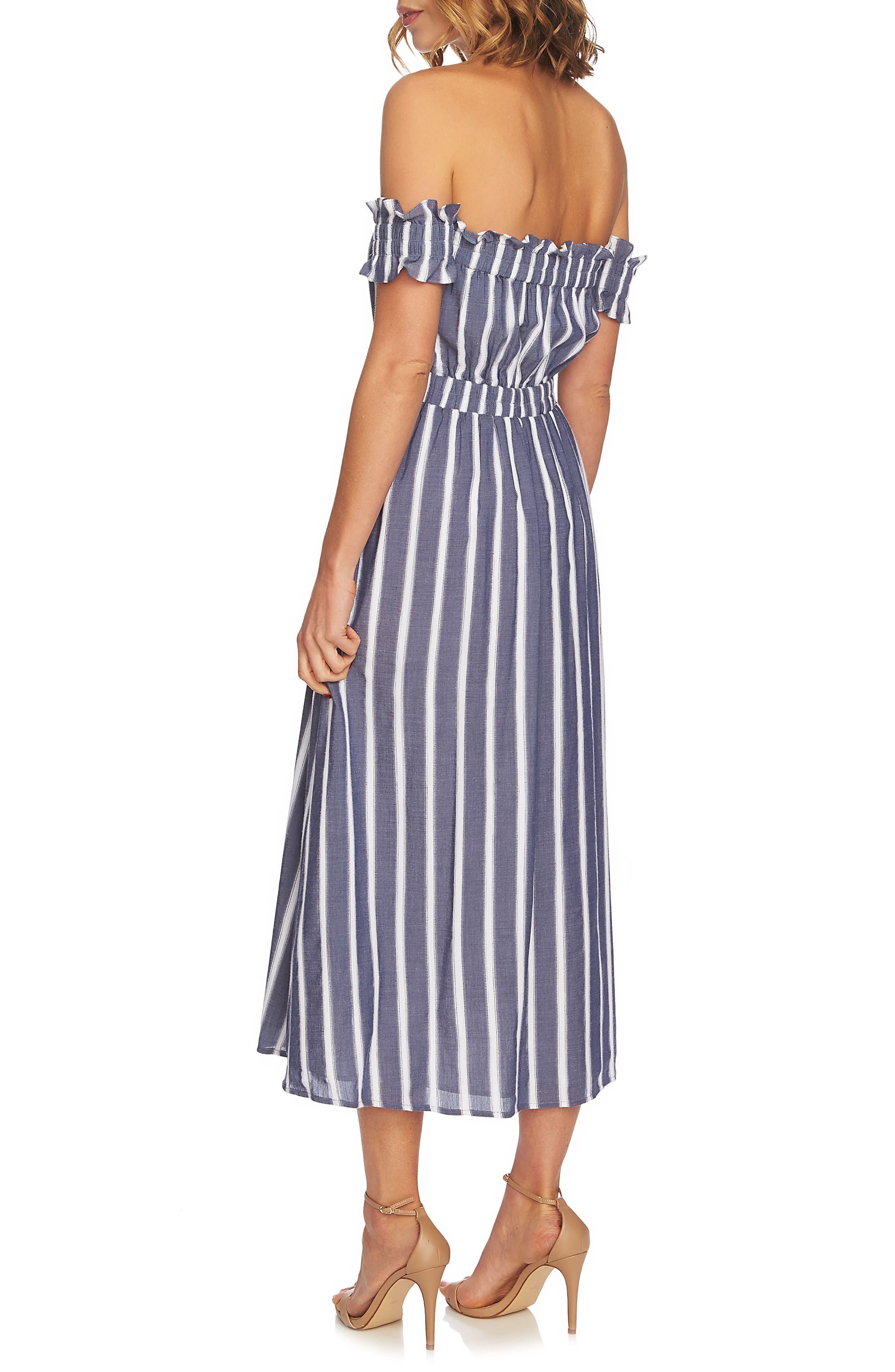 Billie Stripe Off the Shoulder Midi Dress,                             Alternate thumbnail 2, color,                             Rainfall