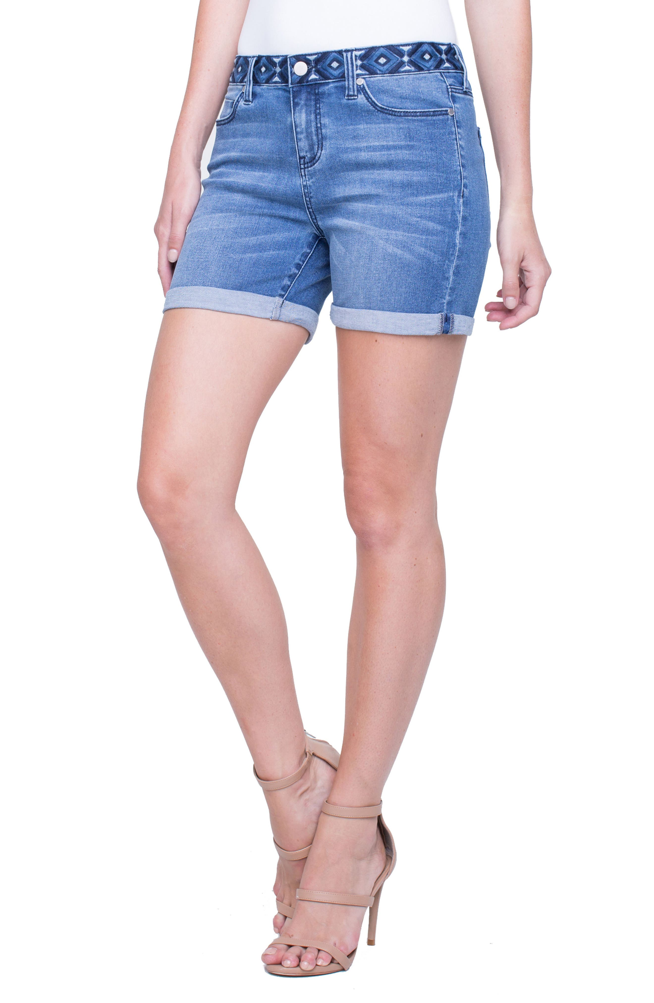 Vickie Embroidered Waist Denim Shorts,                             Main thumbnail 1, color,                             Claremont Light