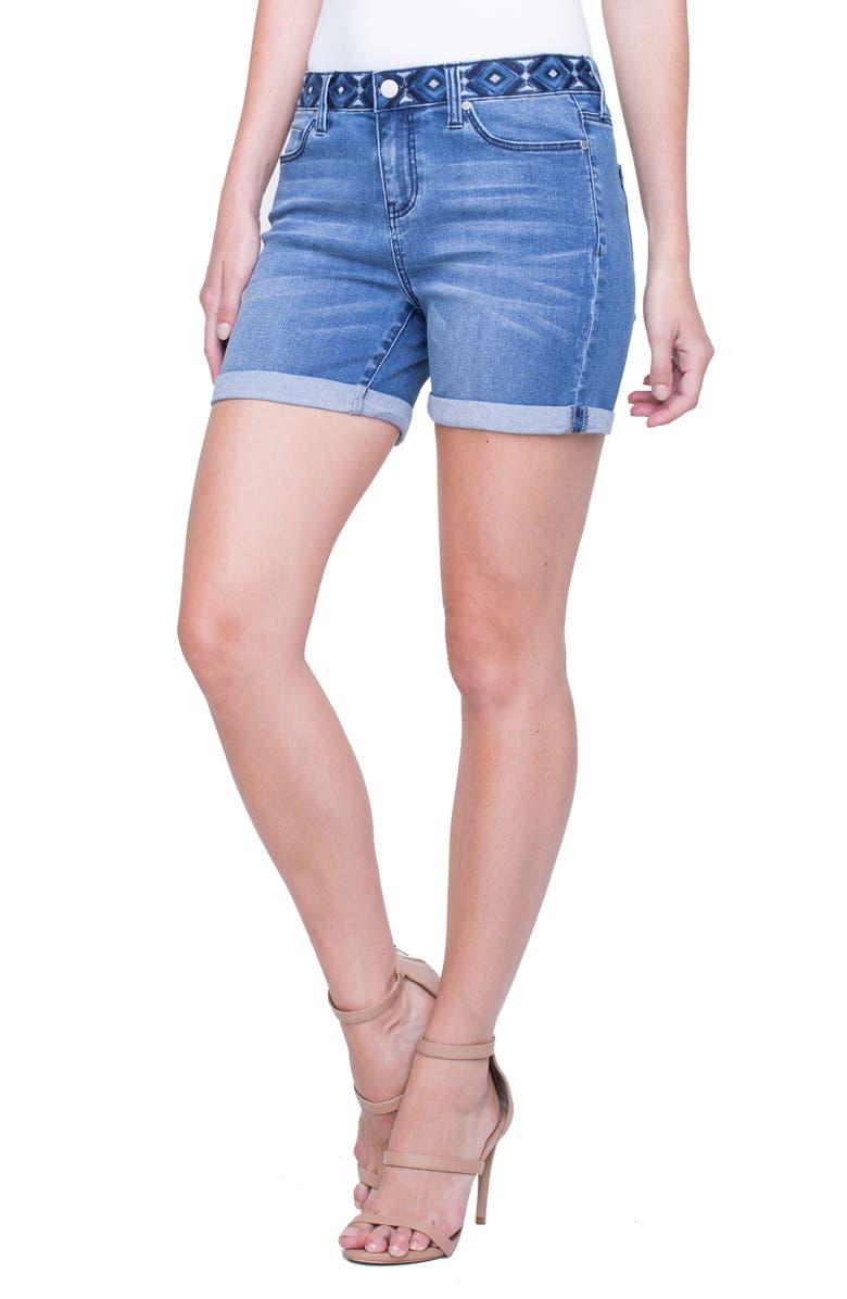Vickie Embroidered Waist Denim Shorts