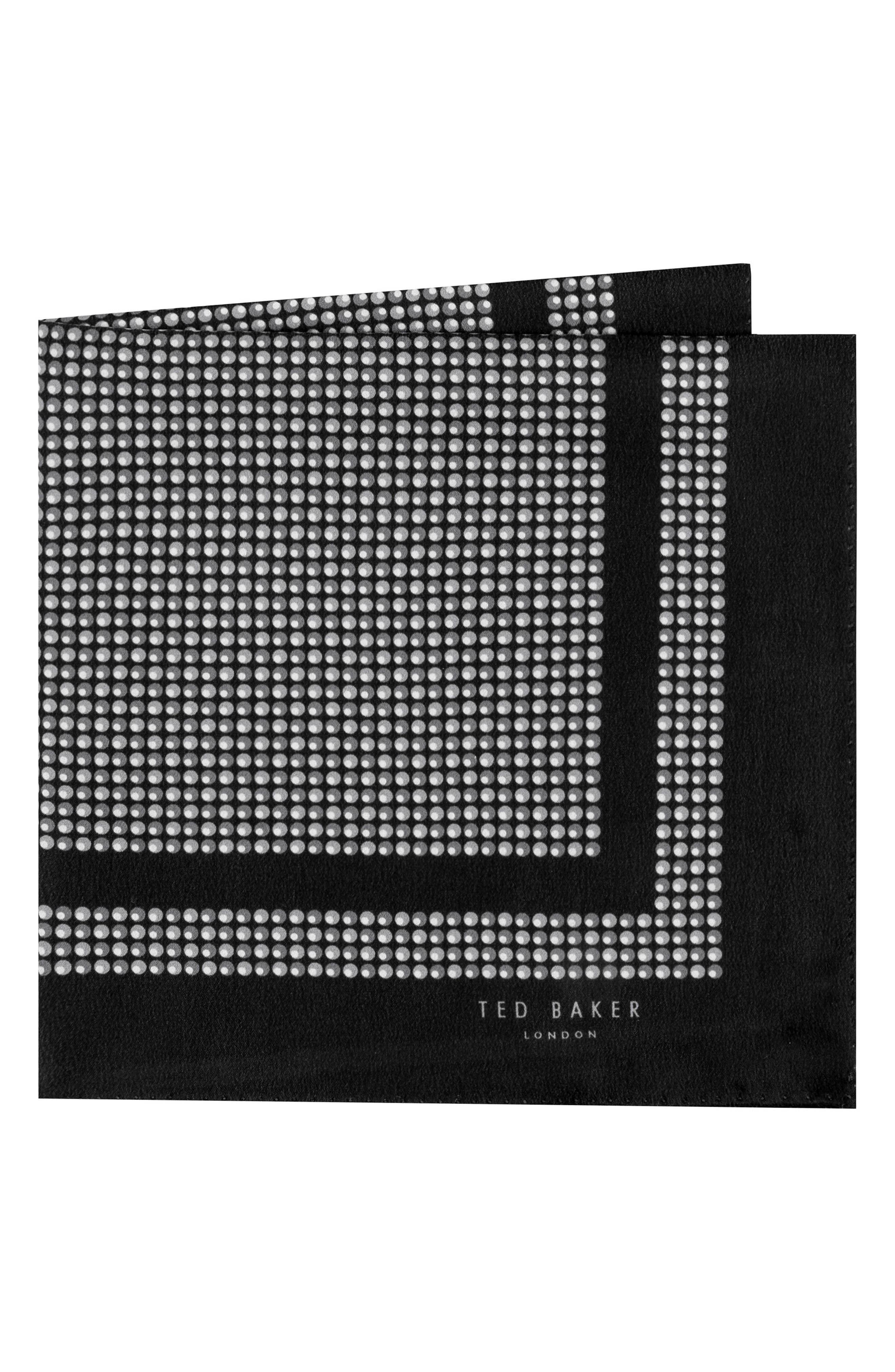 Micro Dot Silk Pocket Square,                         Main,                         color, Gray