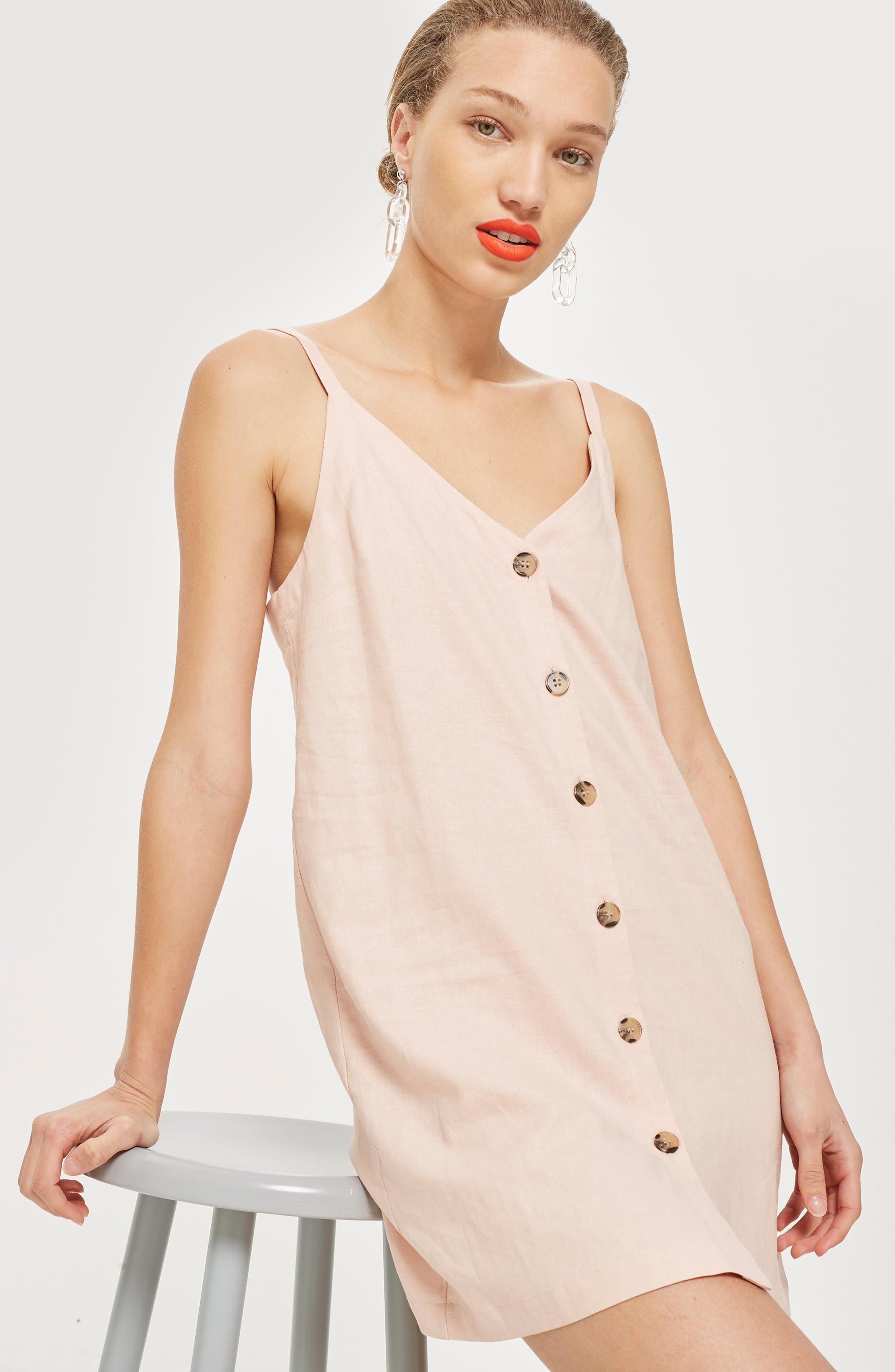 Button Mini Slipdress,                             Alternate thumbnail 2, color,                             Light Pink