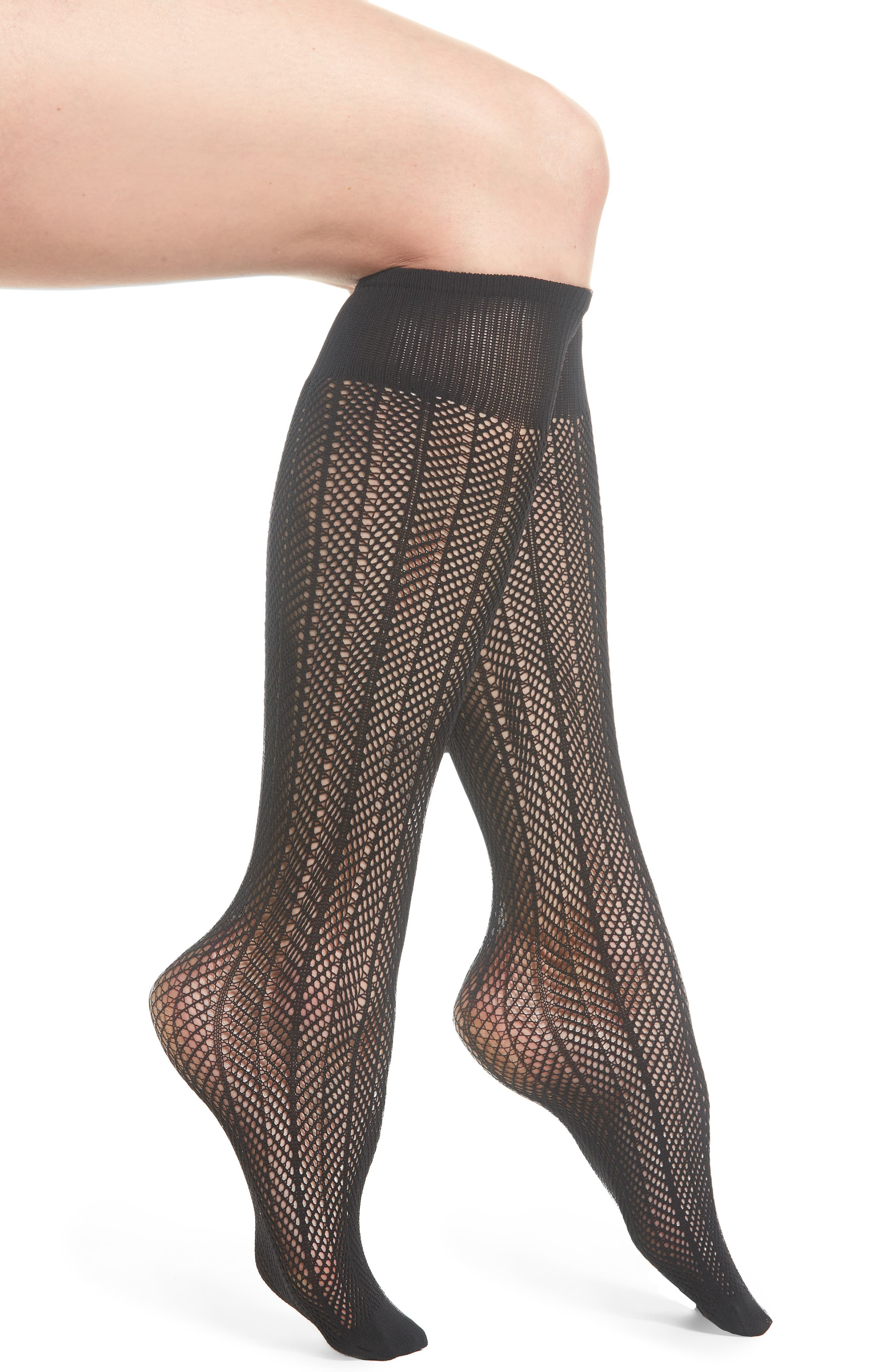 Astrid Fishnet Knee-Highs,                         Main,                         color, Black