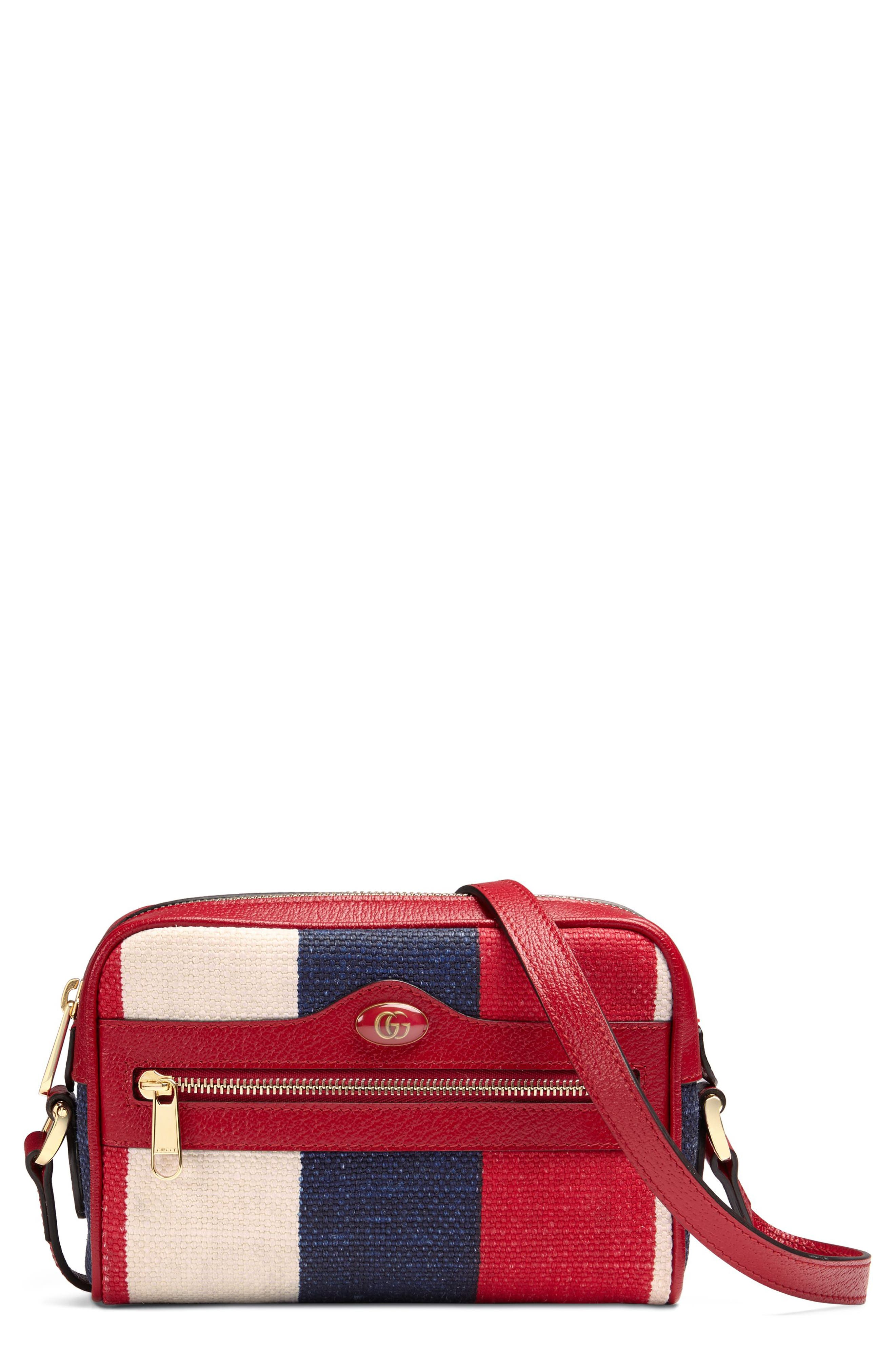 Gucci Ophidia Washed Cotton Stripe Mini Bag