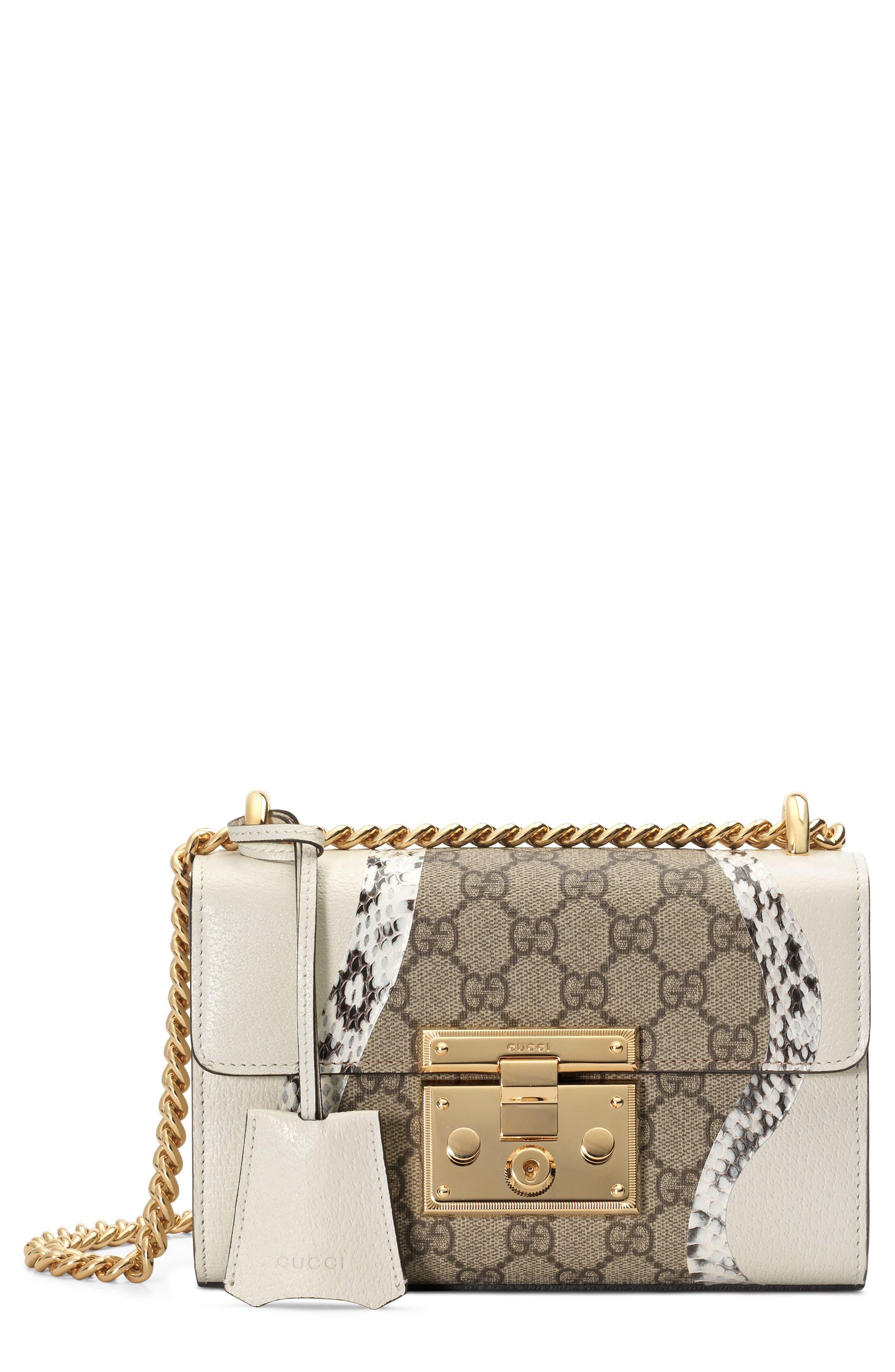 Small Padlock GG Supreme Wave Shoulder Bag with Genuine Snakeskin Trim,                         Main,                         color, White/ Roccia/ Beige Ebony