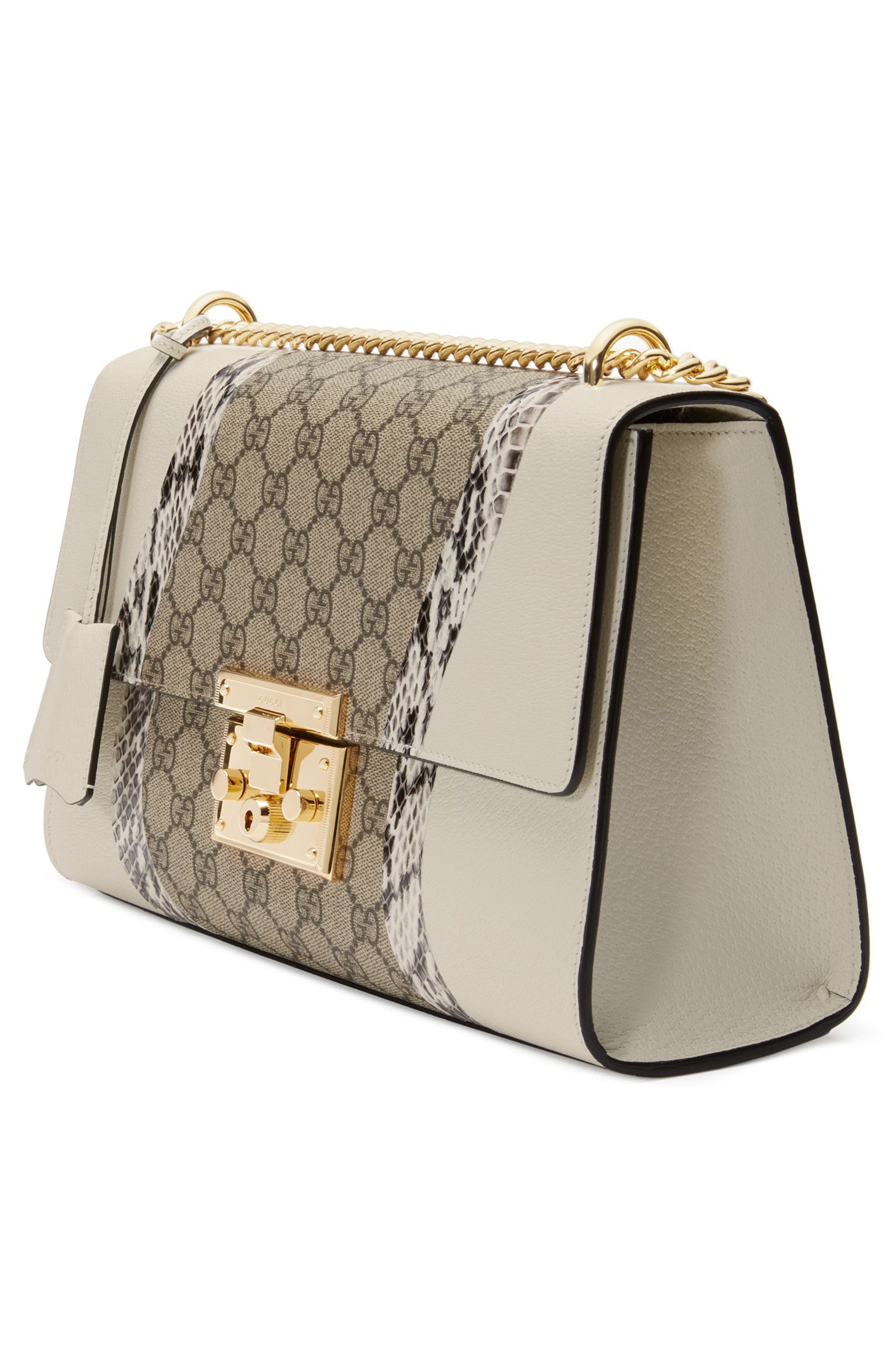 Medium Padlock GG Supreme Wave Shoulder Bag with Genuine Snakeskin Trim,                             Alternate thumbnail 4, color,                             White/ Roccia/ Beige Ebony