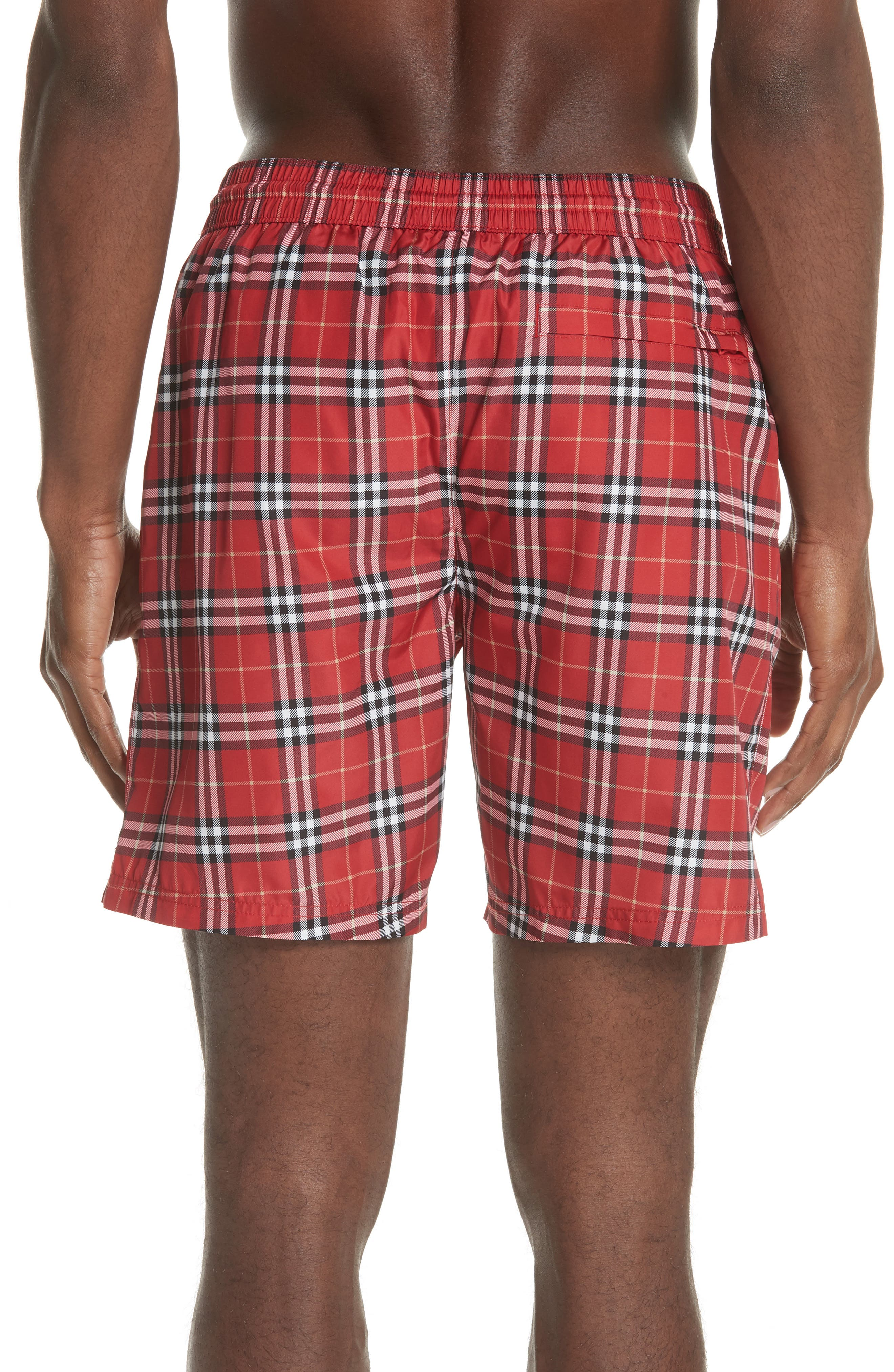 Guides New Check Swim Trunks,                             Alternate thumbnail 2, color,                             Parade Red