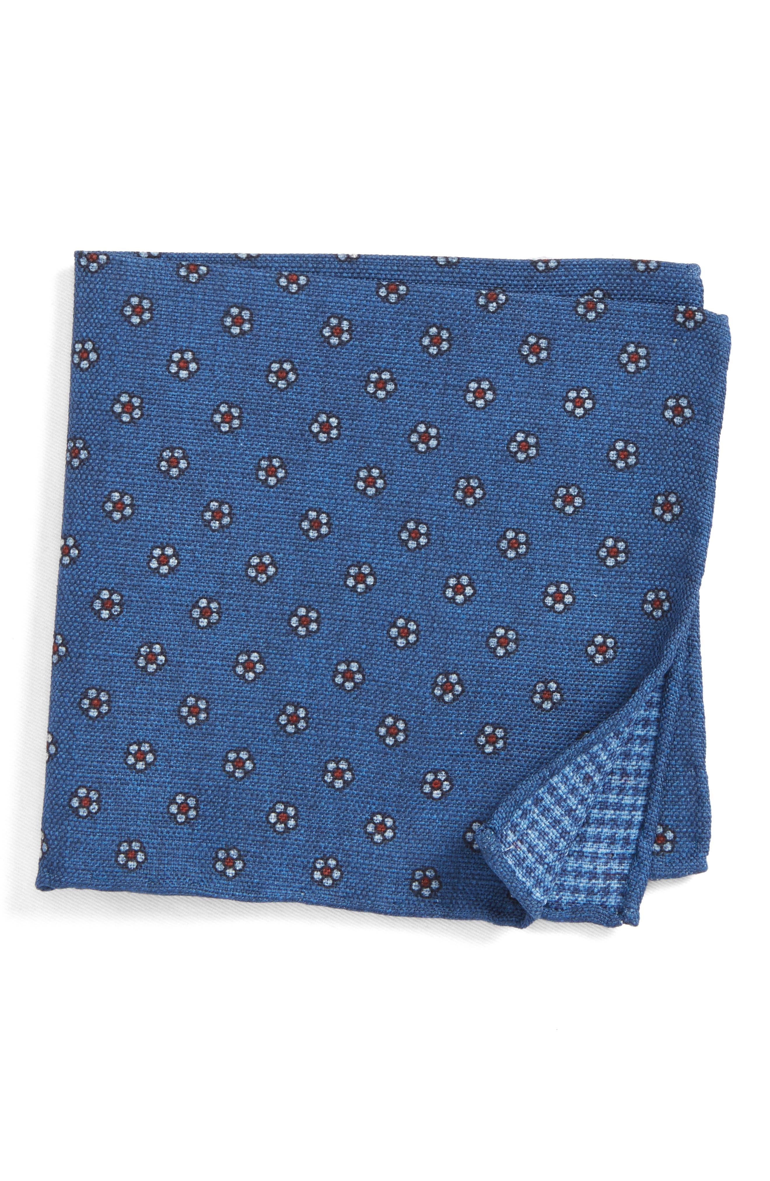 Floral Medallion Pocket Square,                         Main,                         color, Blue