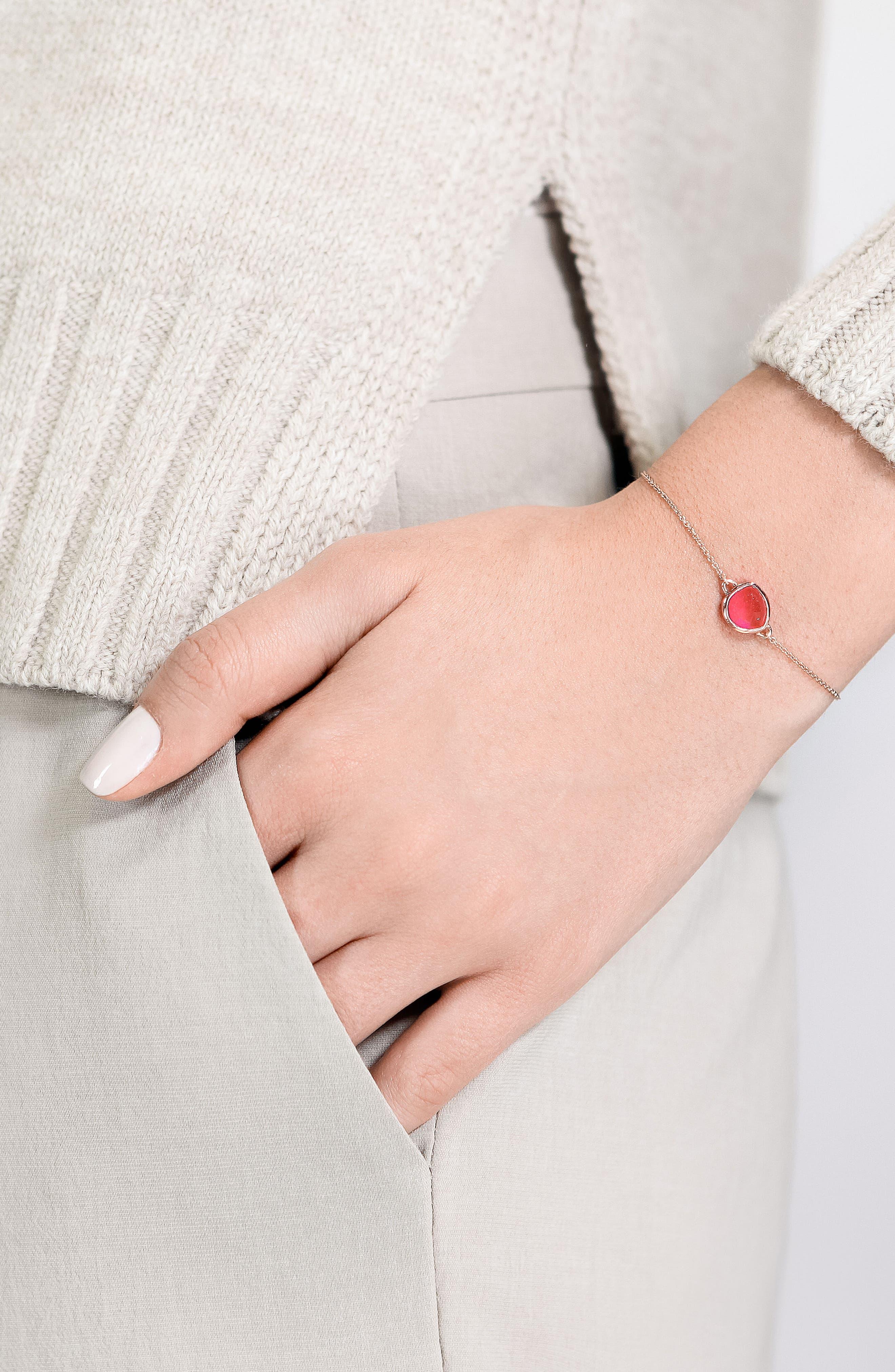 'Mini Siren' Fine Chain Bracelet,                             Alternate thumbnail 2, color,                             Pink Quartz/ Rose Gold