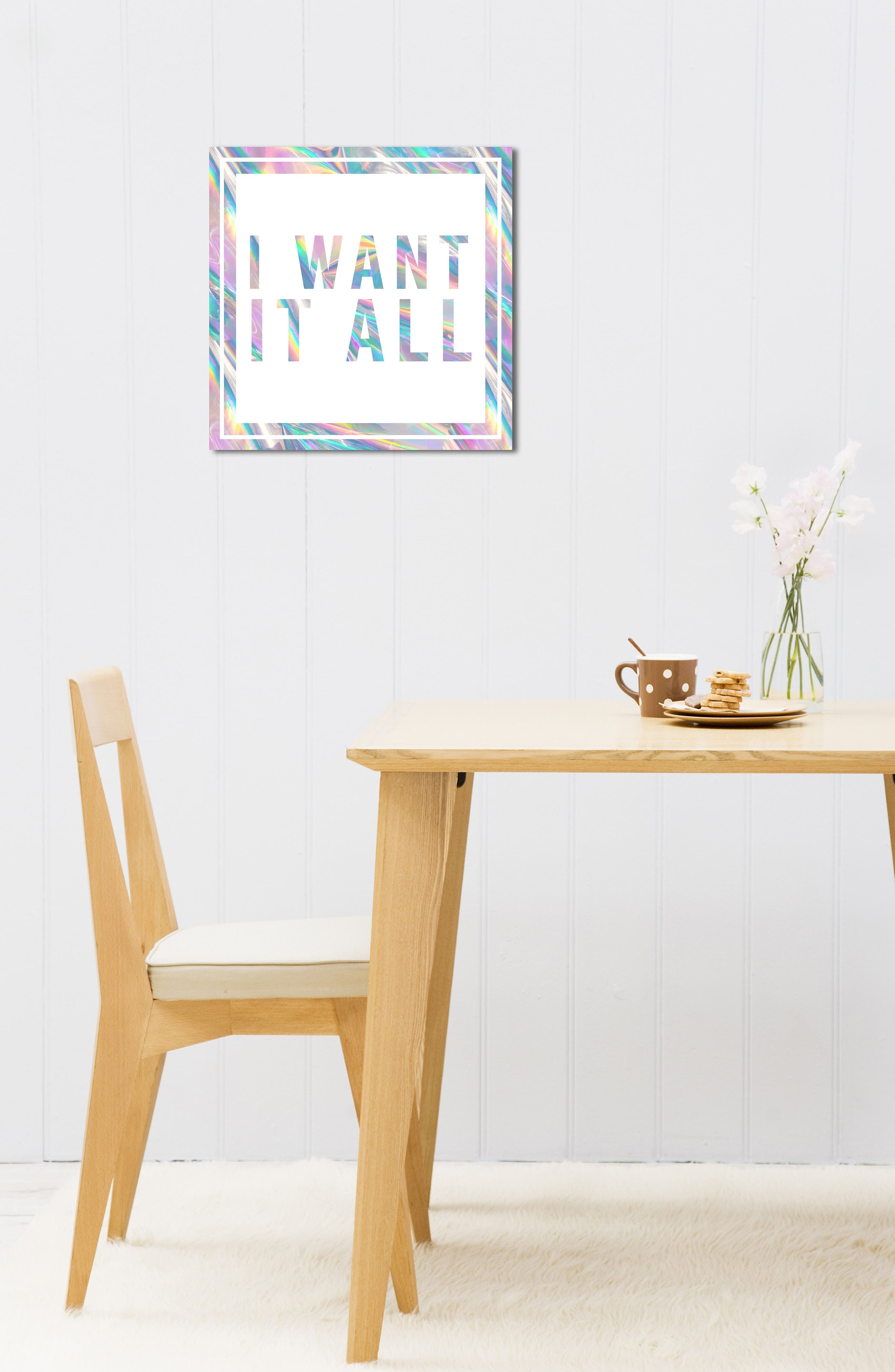 I Want It All Canvas Wall Art,                             Alternate thumbnail 5, color,                             White