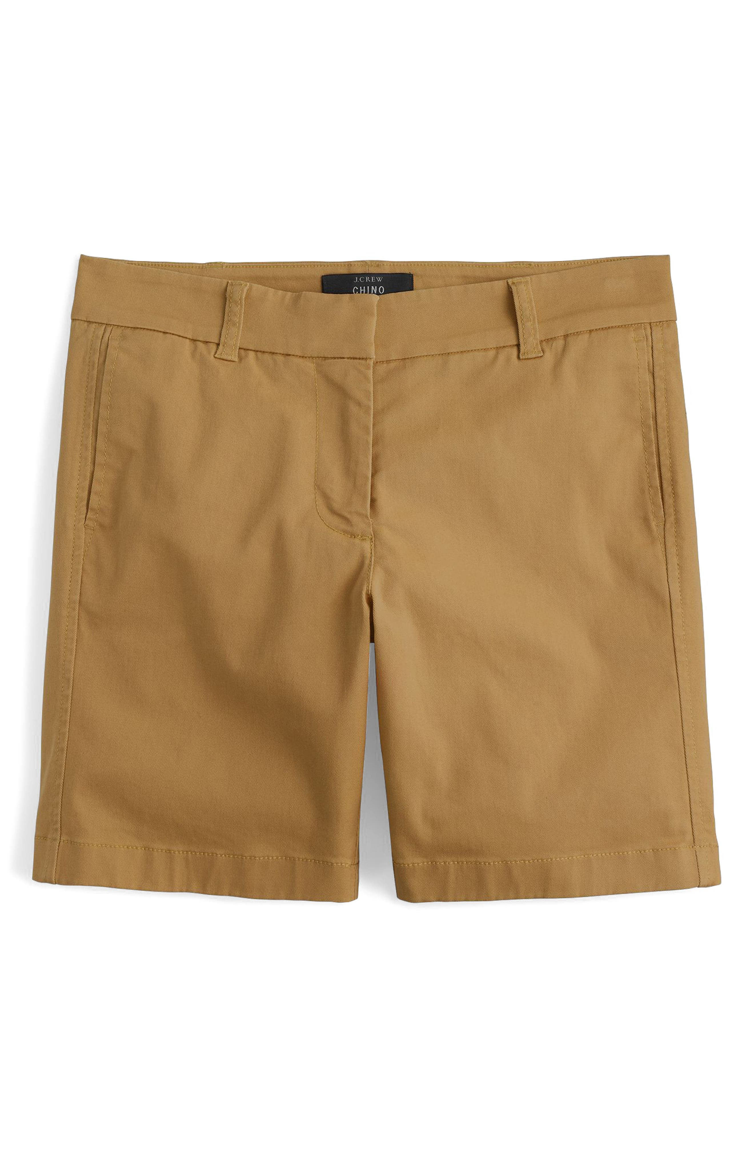 Stretch Cotton Chino Shorts,                         Main,                         color, Honey Brown