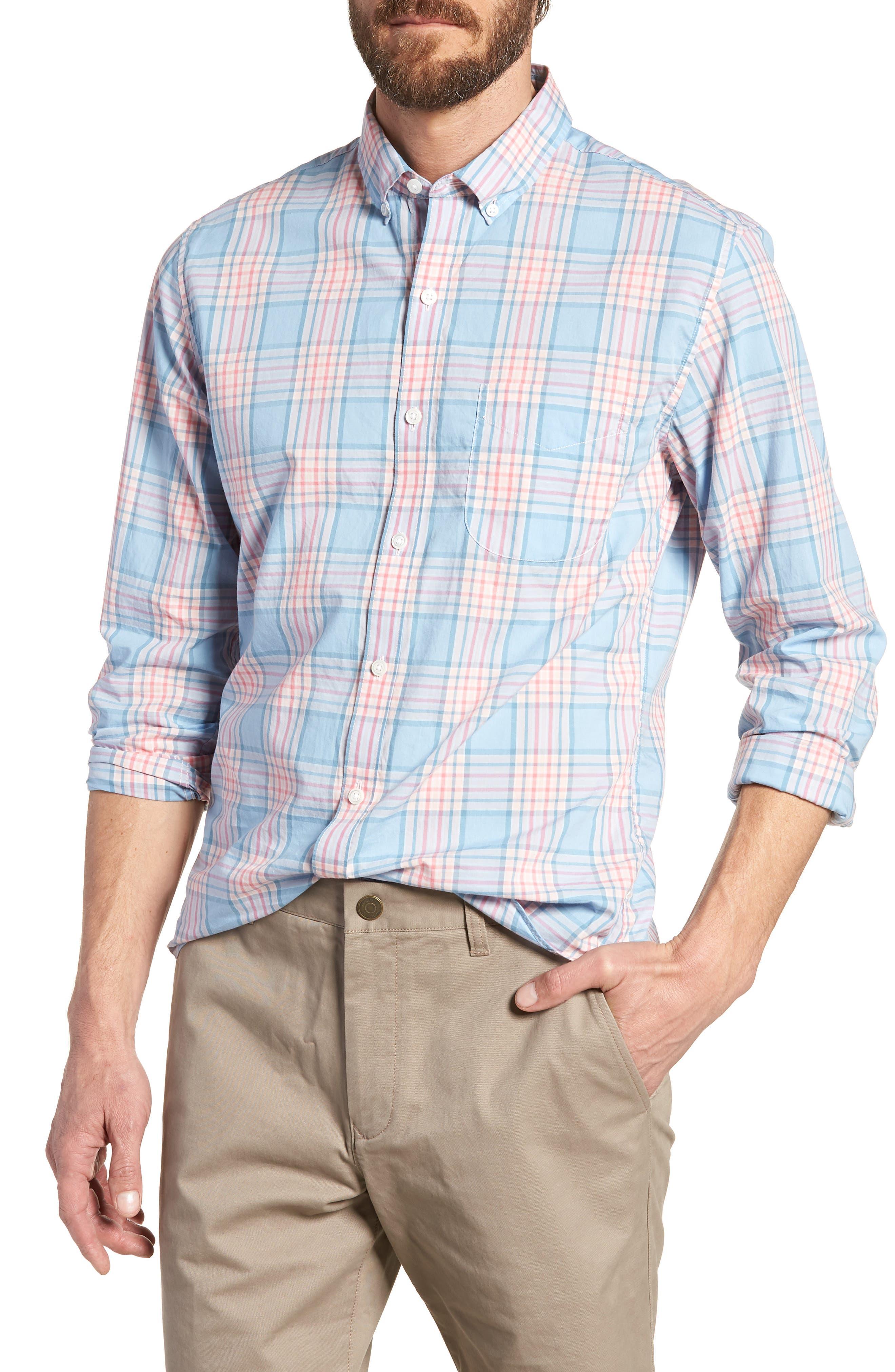 Slim Fit Plaid Sport Shirt,                             Main thumbnail 1, color,                             Sandoval Plaid - Peach Melba