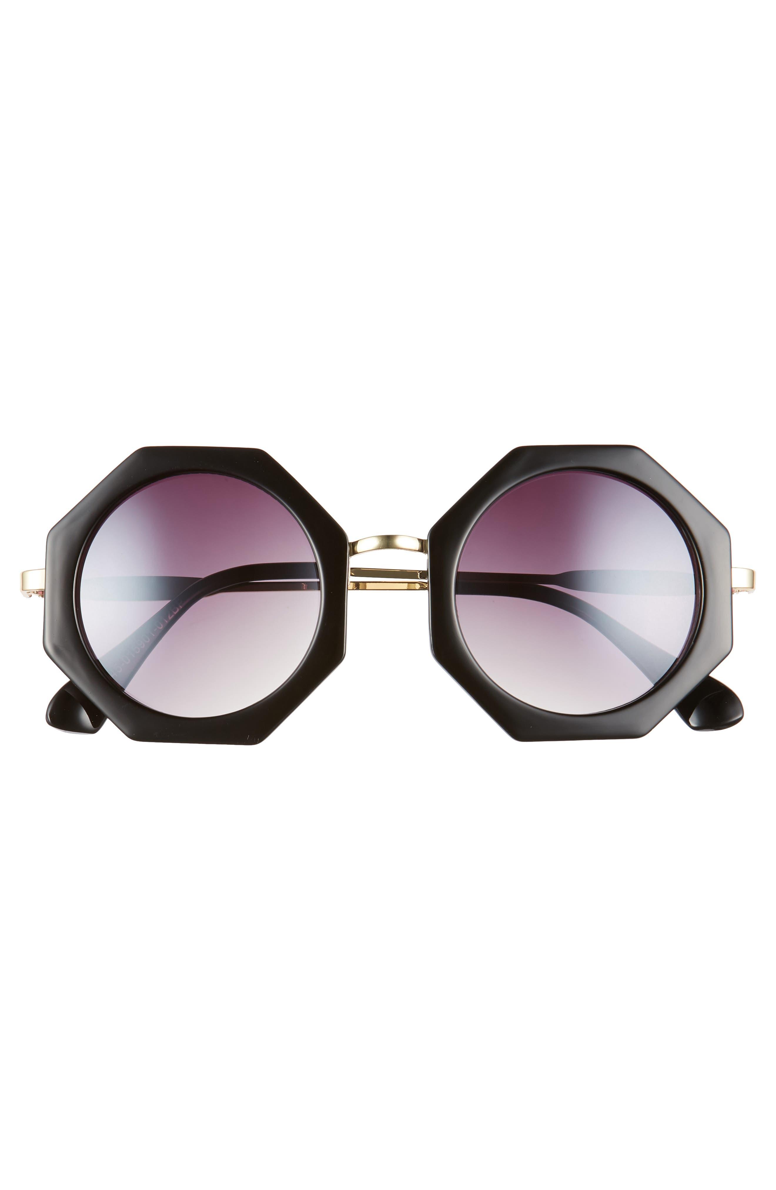 54m Hexagonal Sunglasses,                             Alternate thumbnail 2, color,                             Black/ Gold