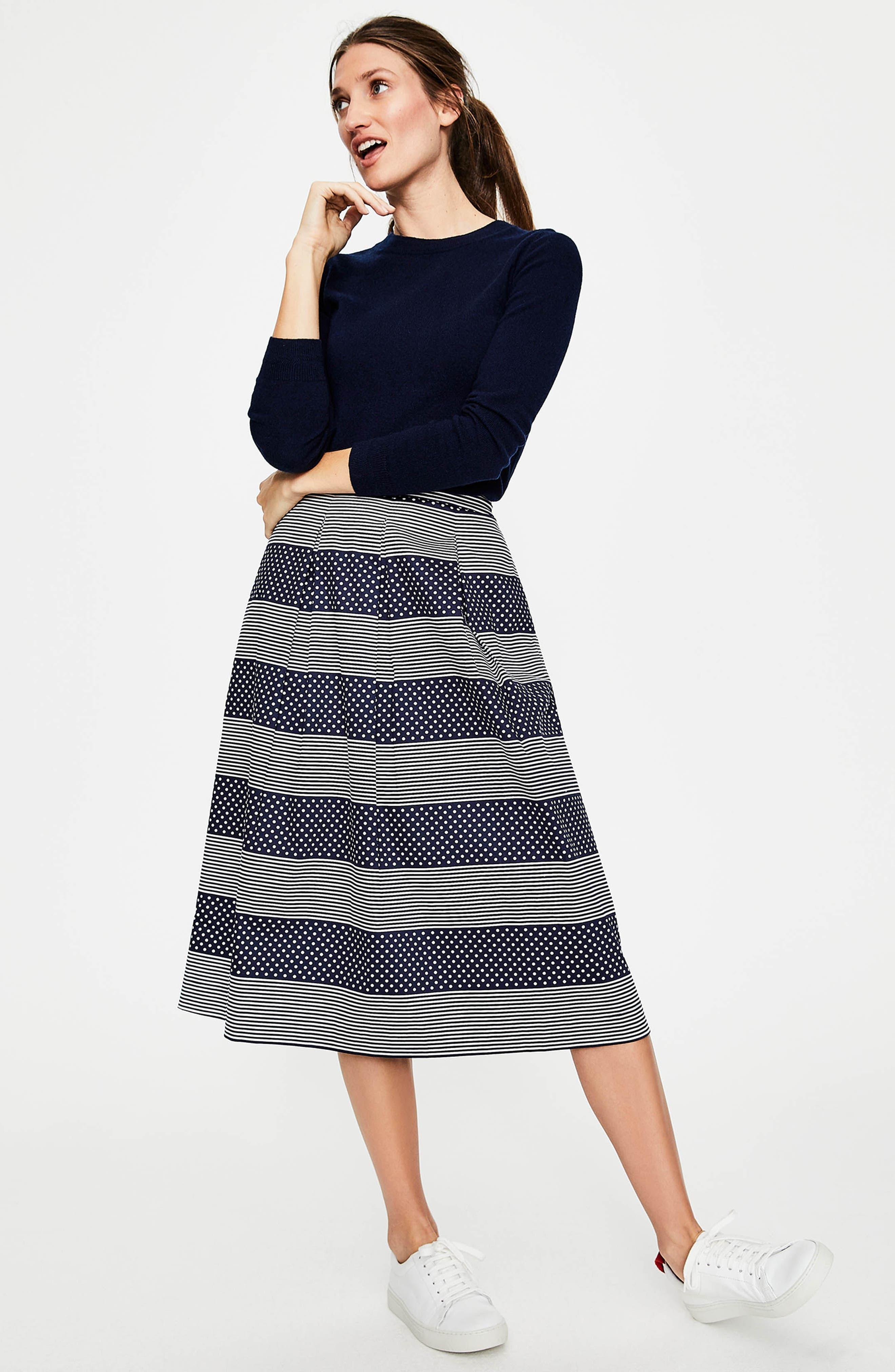 Lola Floral Flared Skirt,                             Alternate thumbnail 4, color,                             Navy/ Spot Stripe
