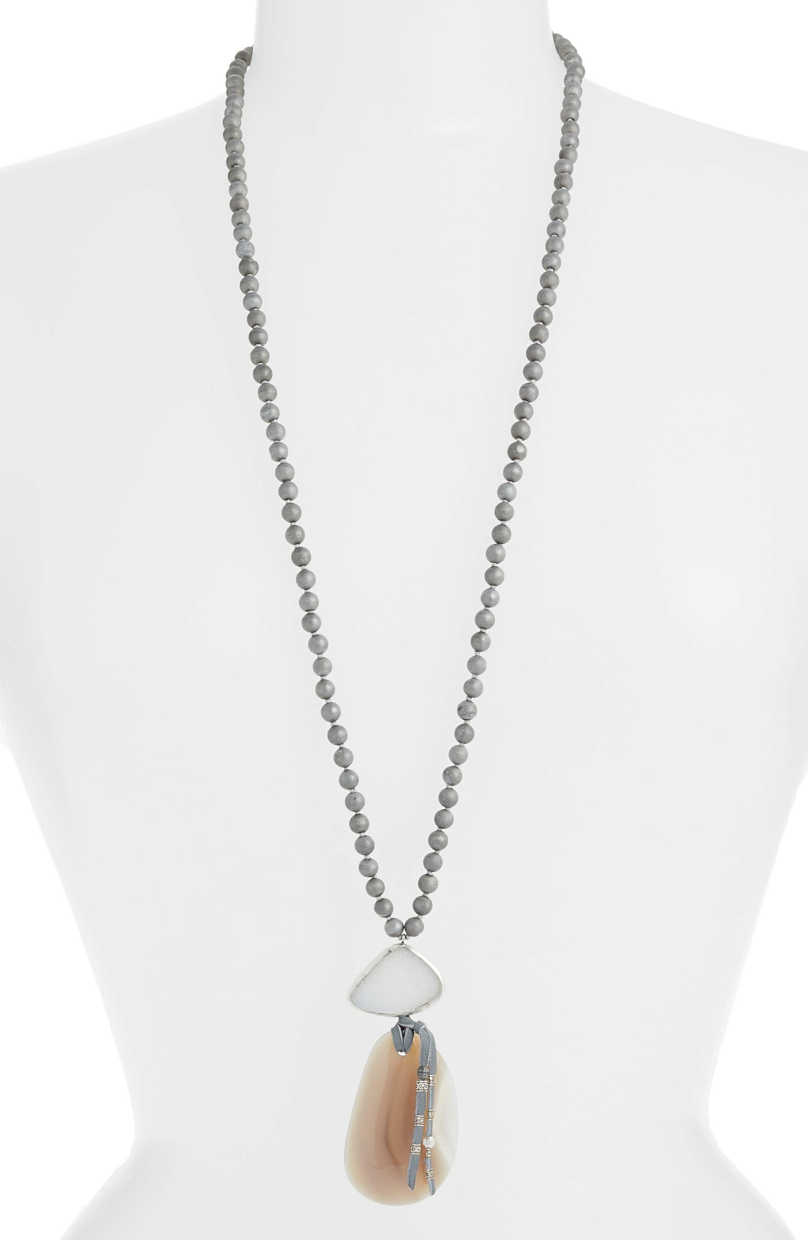 Silver Agate Statement Pendant Necklace,                         Main,                         color, Silver Agate