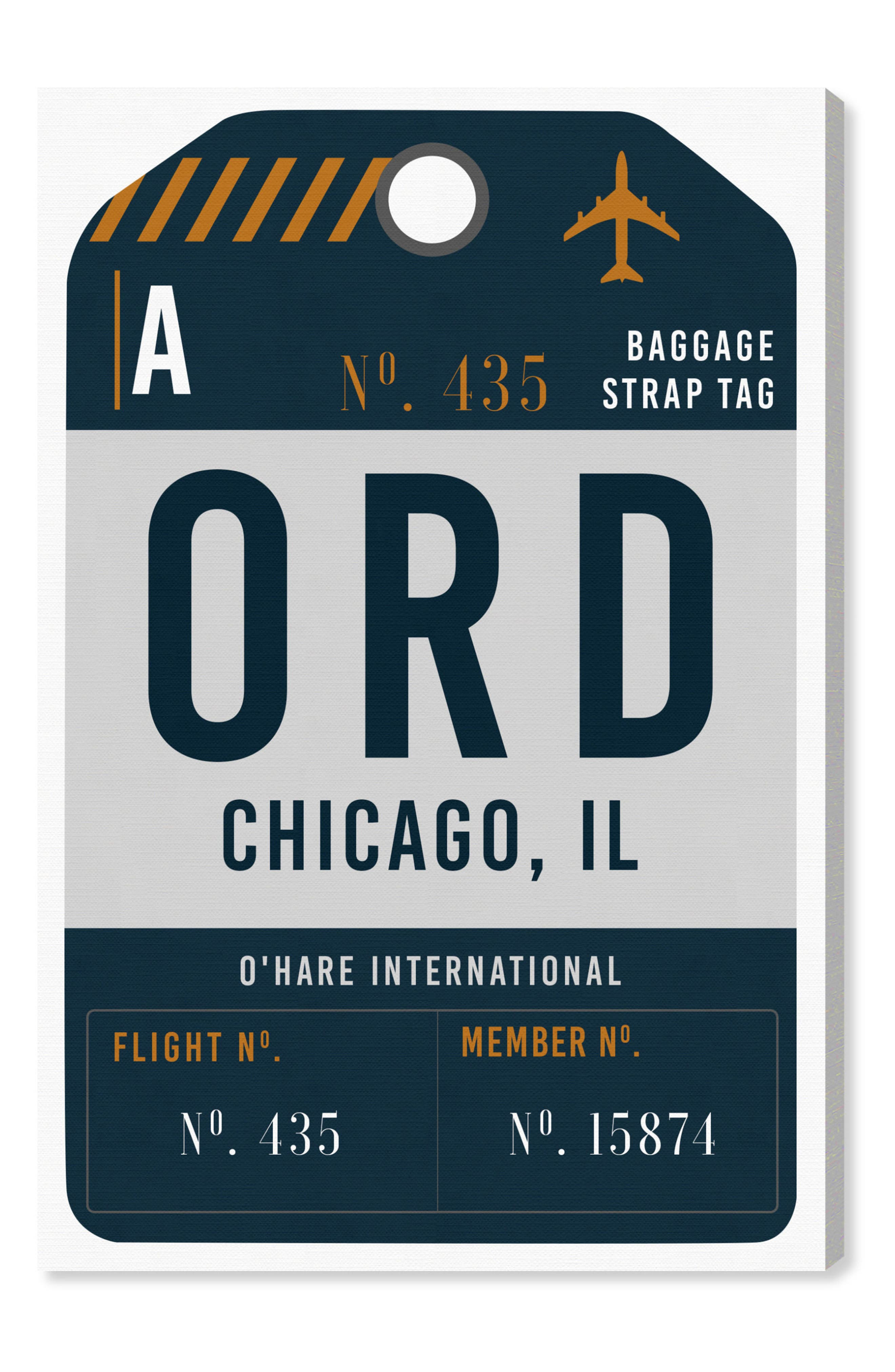 Chicago Luggage Tag Wall Art,                         Main,                         color, Gray