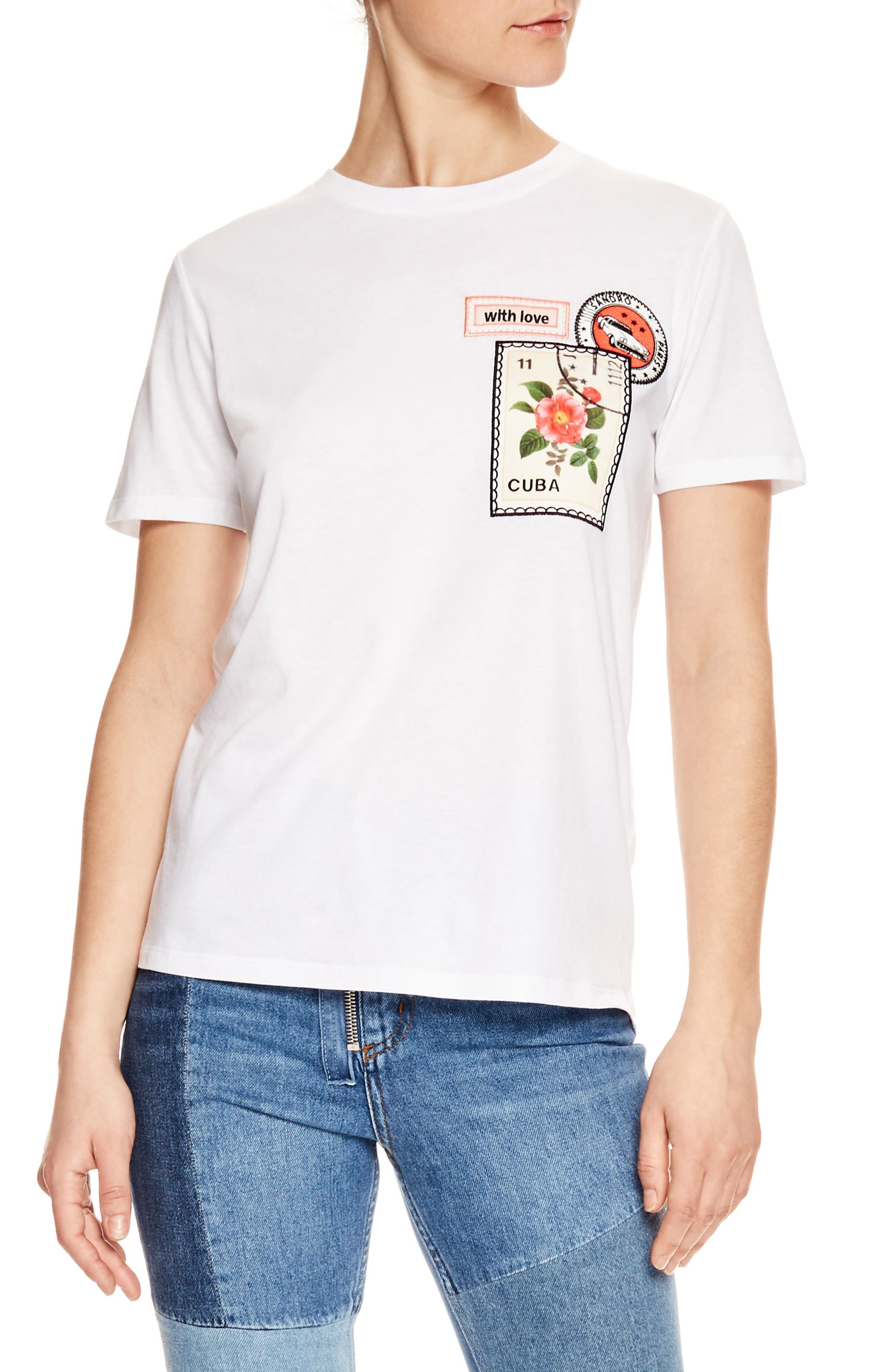 Embroidered Stamp Graphic Tee,                             Main thumbnail 1, color,                             Blanc