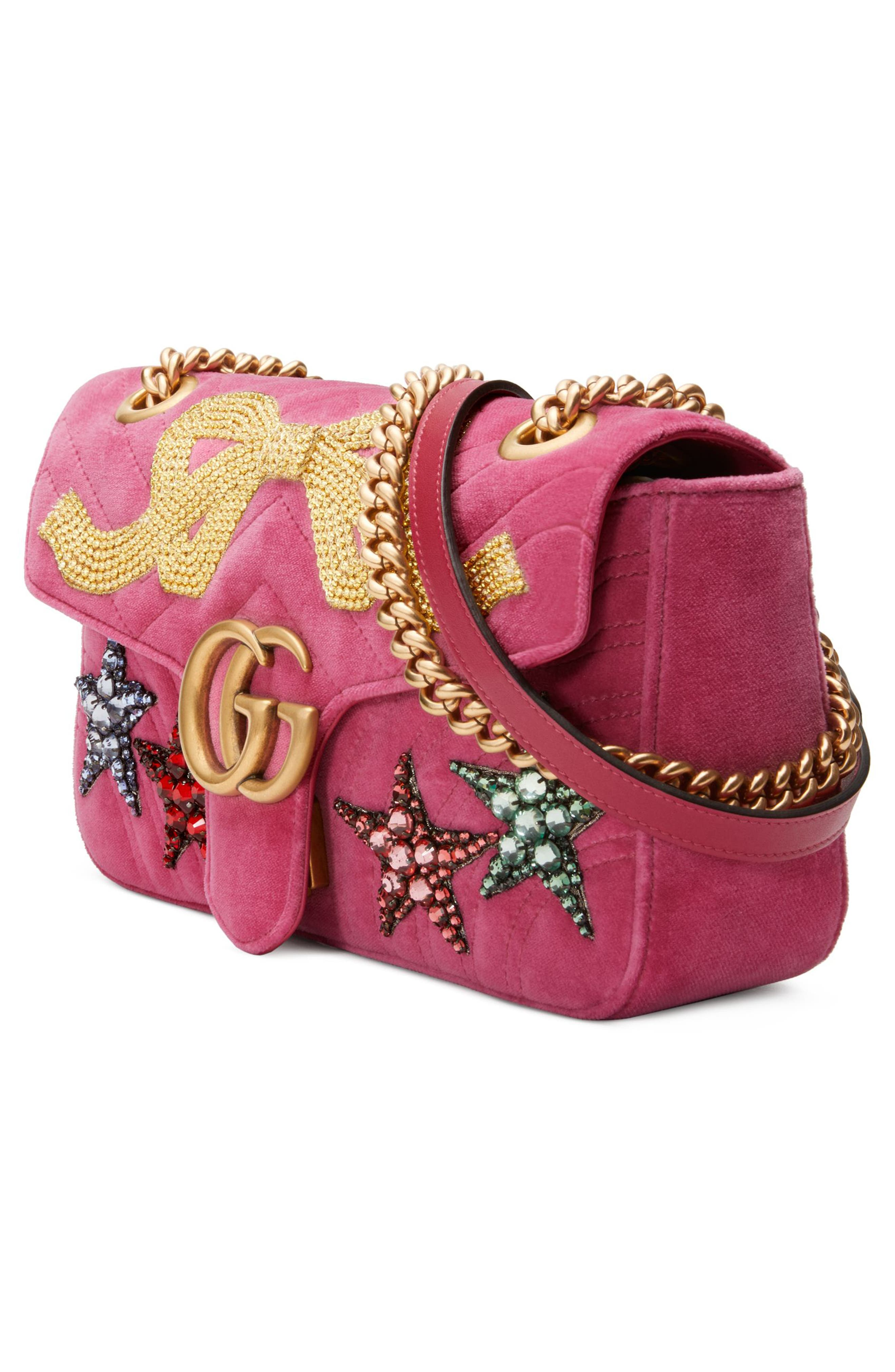 Small GG Marmont 2.0 Matelassé Velvet Shoulder Bag,                             Alternate thumbnail 4, color,                             Raspberry/ Raspberry Multi