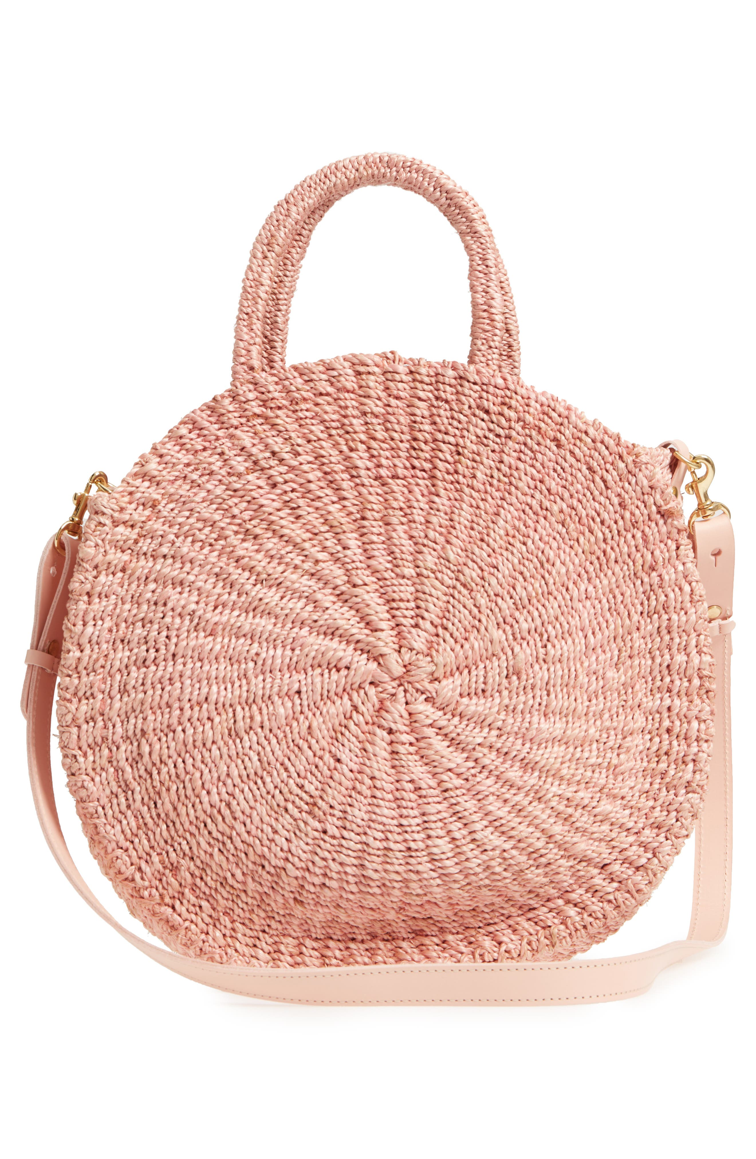 Alice Woven Sisal Straw Bag,                             Alternate thumbnail 3, color,                             Blush Woven