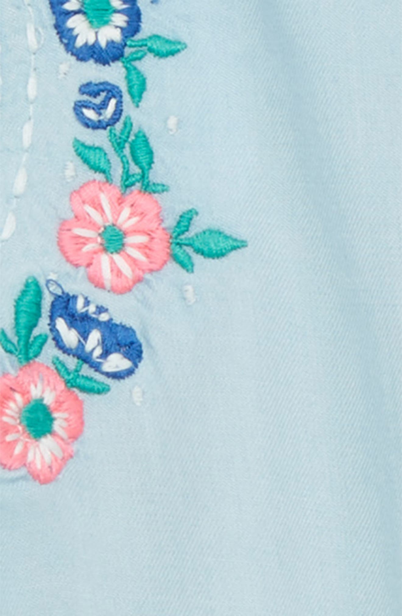 Embroidered Swing Top & Bloomers,                             Alternate thumbnail 2, color,                             Light Blue Wash