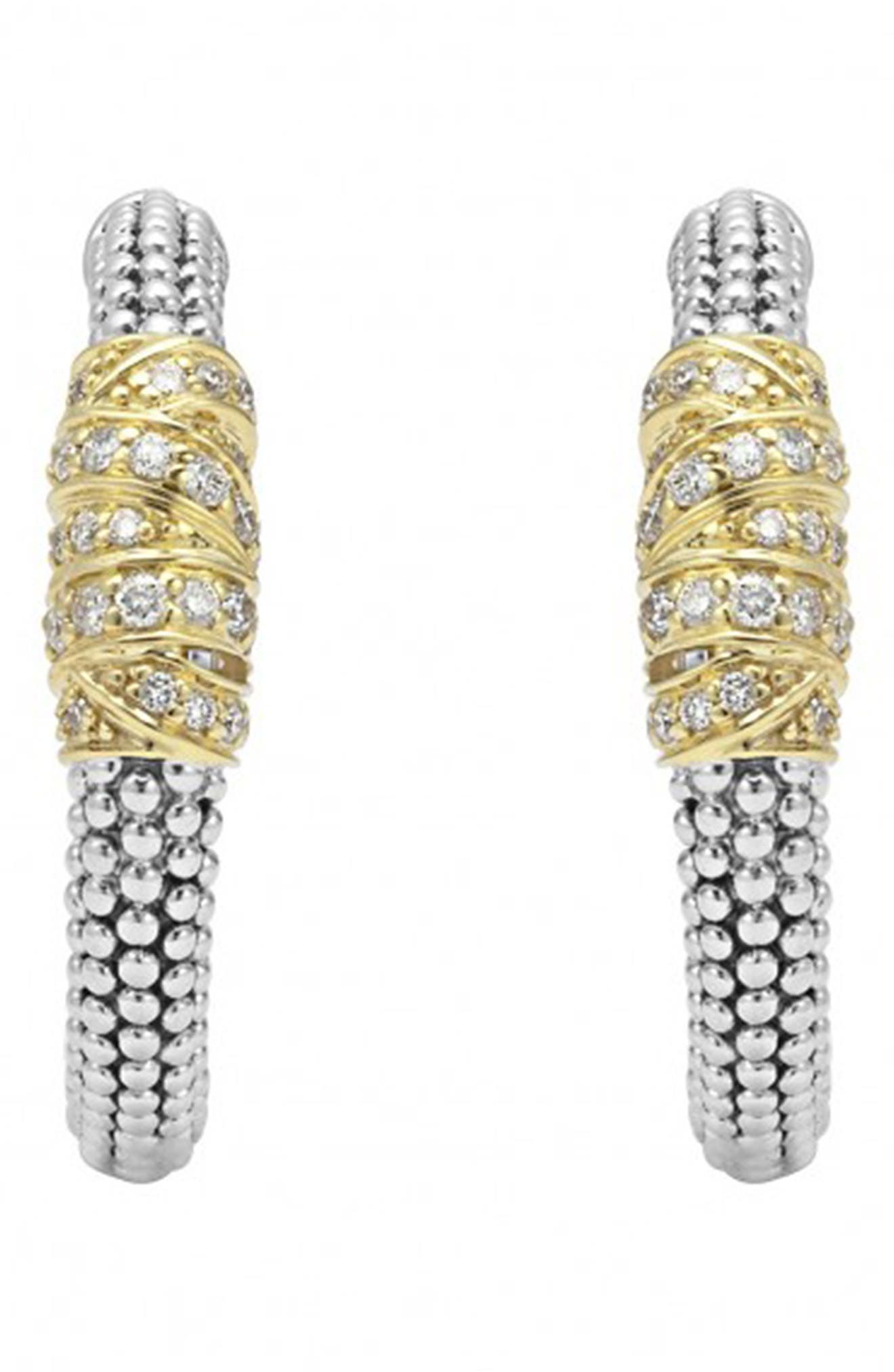 'Embrace' Caviar Diamond Hoop Earrings,                             Alternate thumbnail 2, color,                             Sterling Silver/ Gold