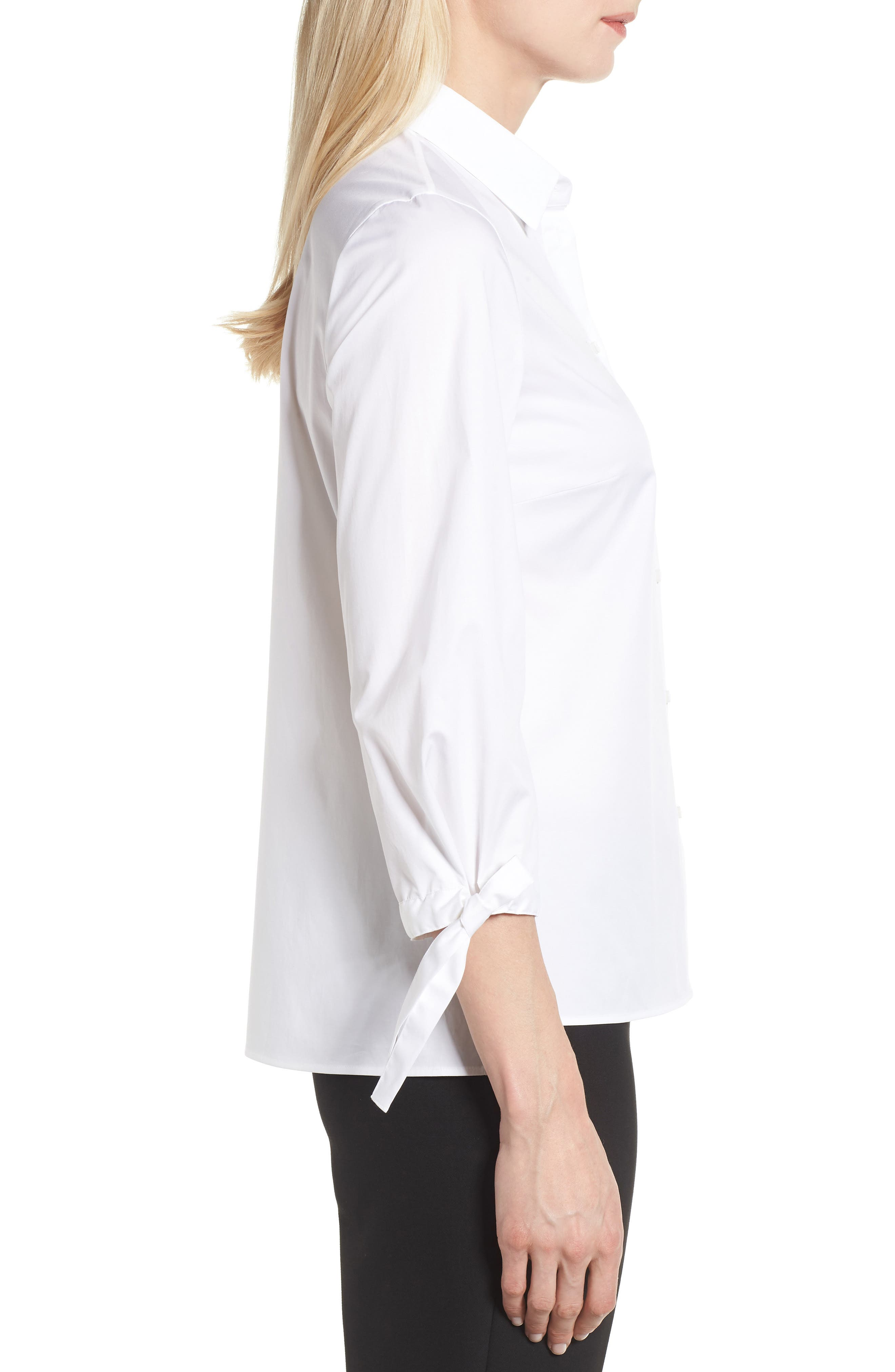 Biulepa Stretch Cotton Tie Sleeve Top,                             Alternate thumbnail 3, color,                             White