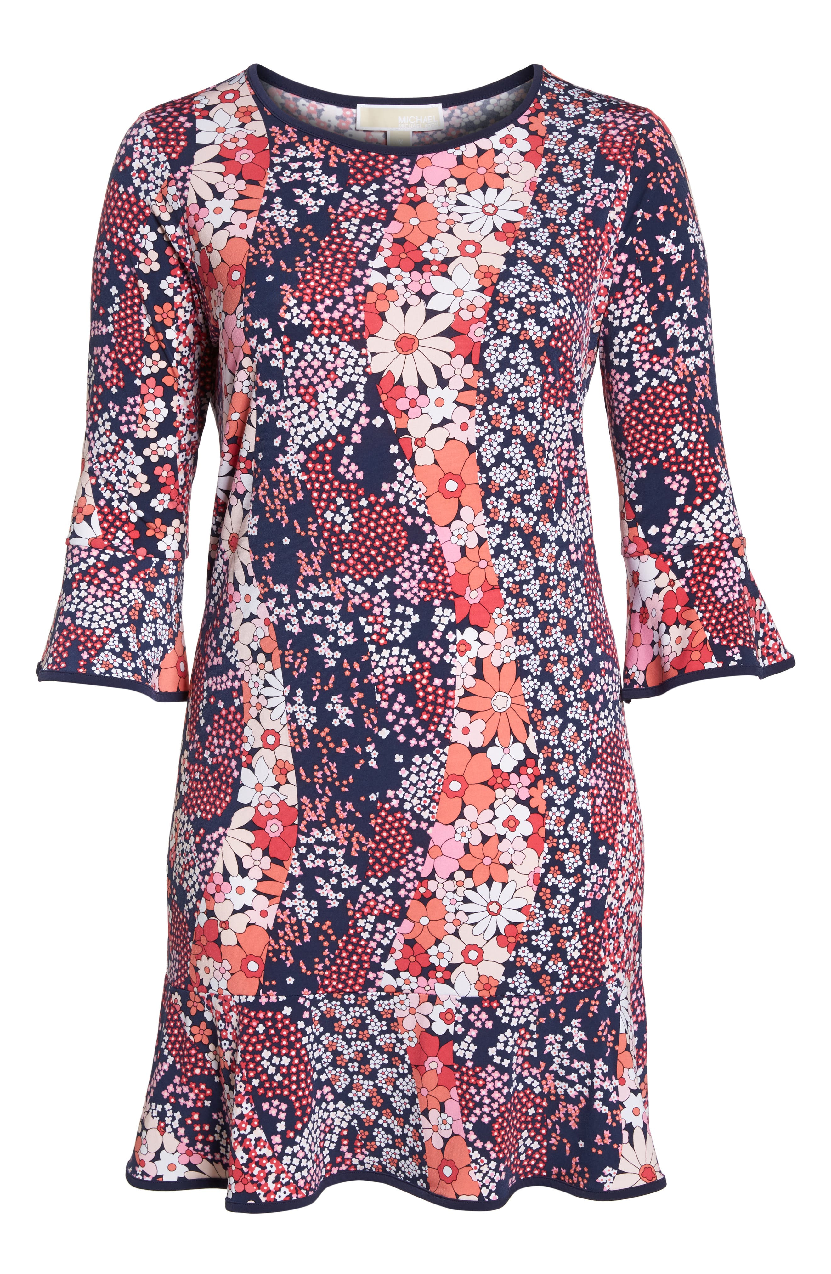 Patchwork Floral Bell Sleeve Shift Dress,                             Alternate thumbnail 7, color,                             True Navy/ Bright Blush