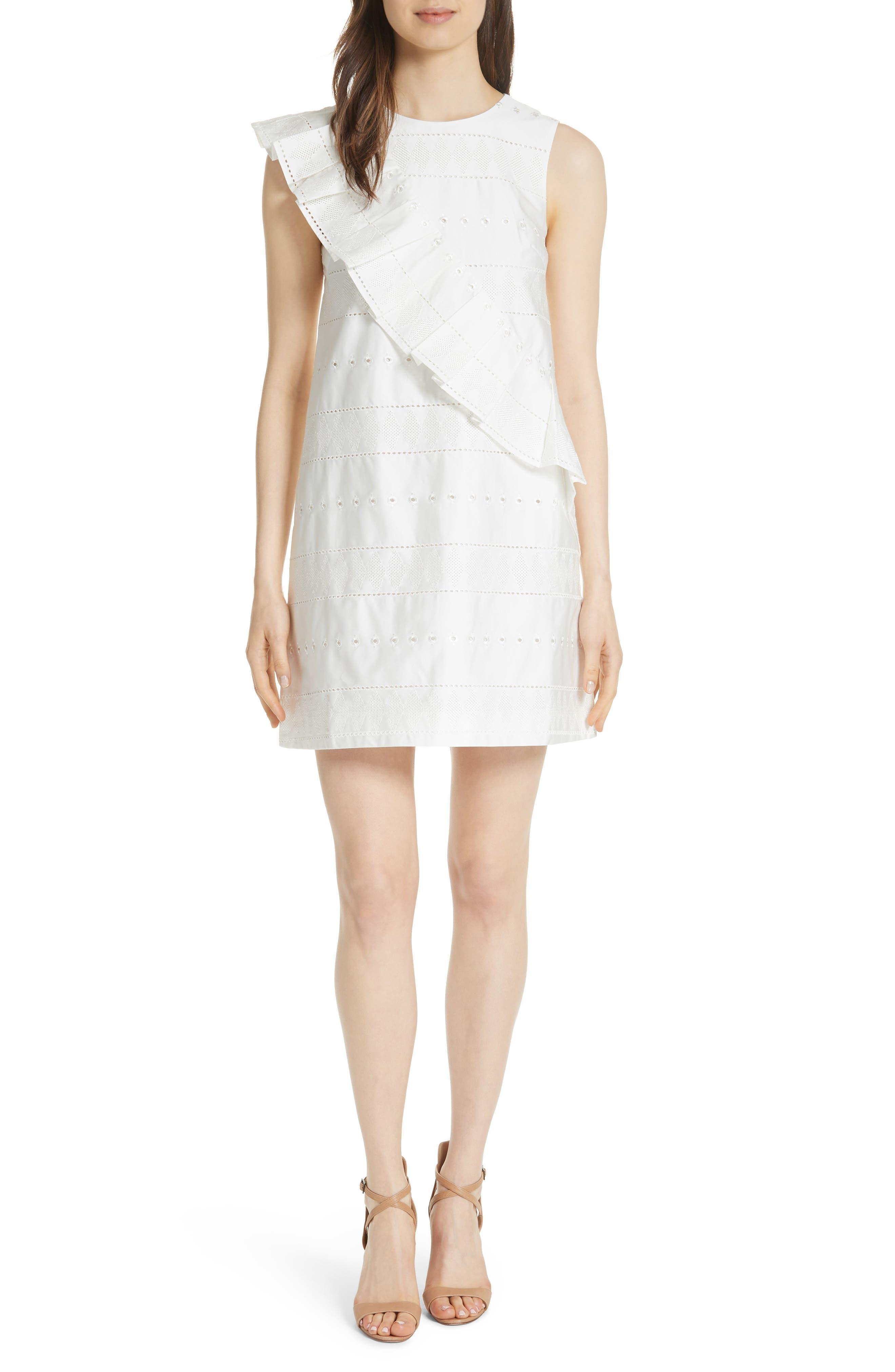 Embroidered Ruffle Stretch Cotton Shift Dress,                         Main,                         color, White