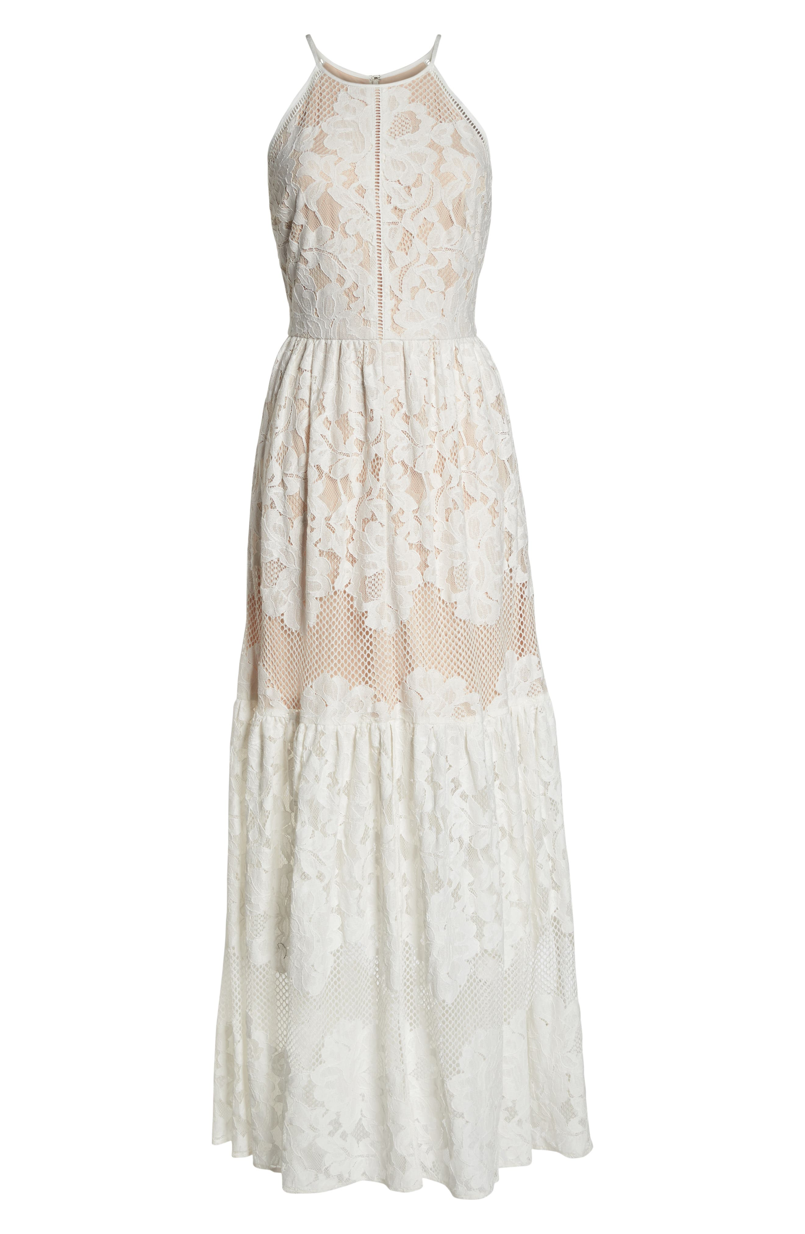 Front Slit Lace Maxi Dress,                             Alternate thumbnail 7, color,                             Ivory