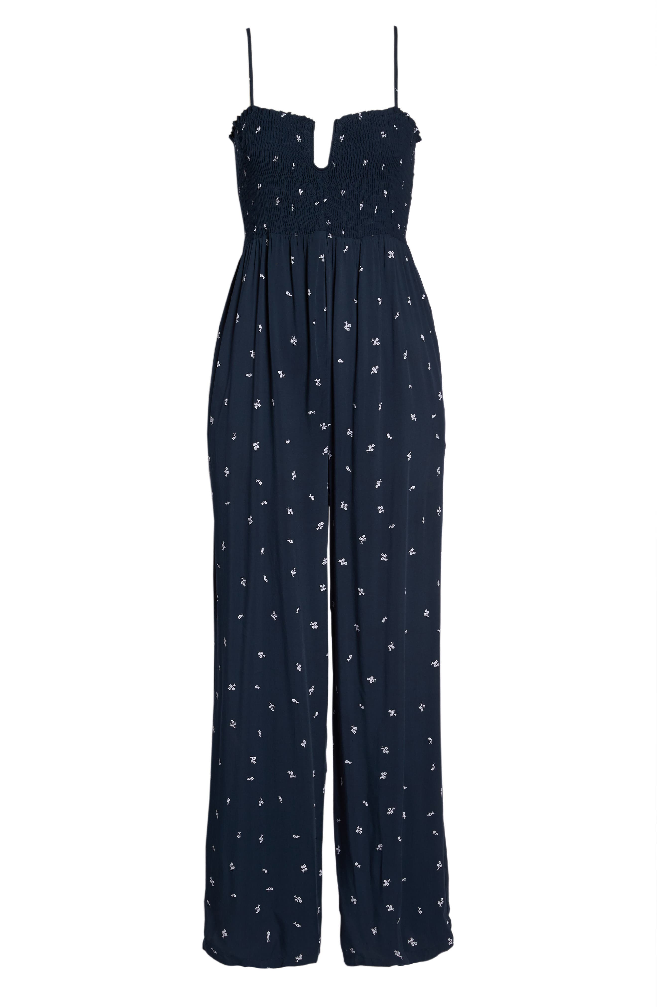 West Floral Jumpsuit,                             Alternate thumbnail 7, color,                             Navy Dainty Ditsy