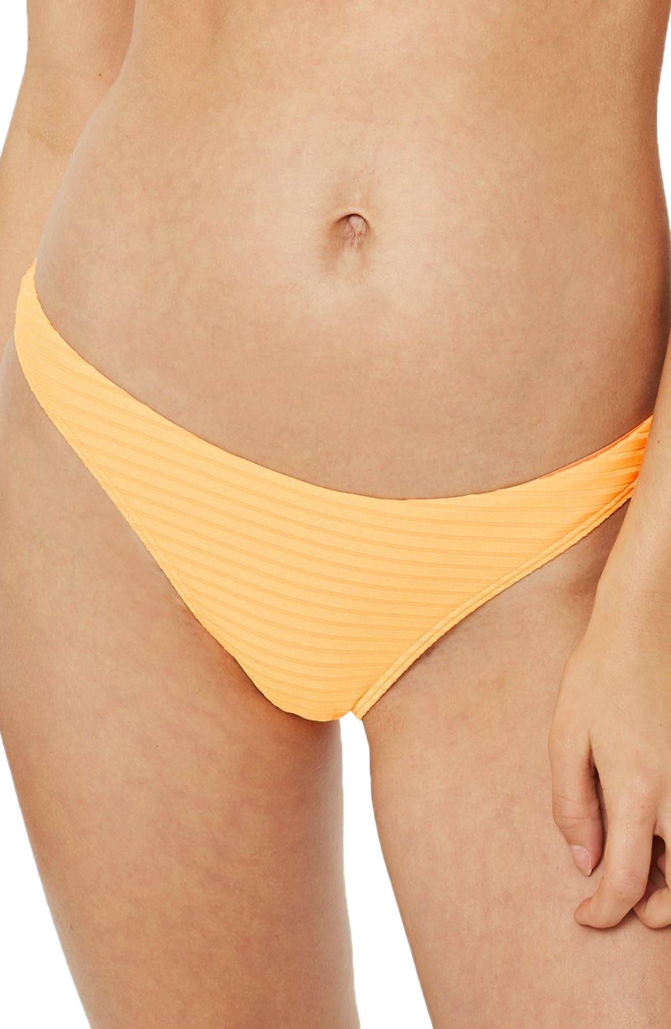 Alternate Image 1 Selected - Topshop Wide Ribbed High Leg Bikini Bottoms